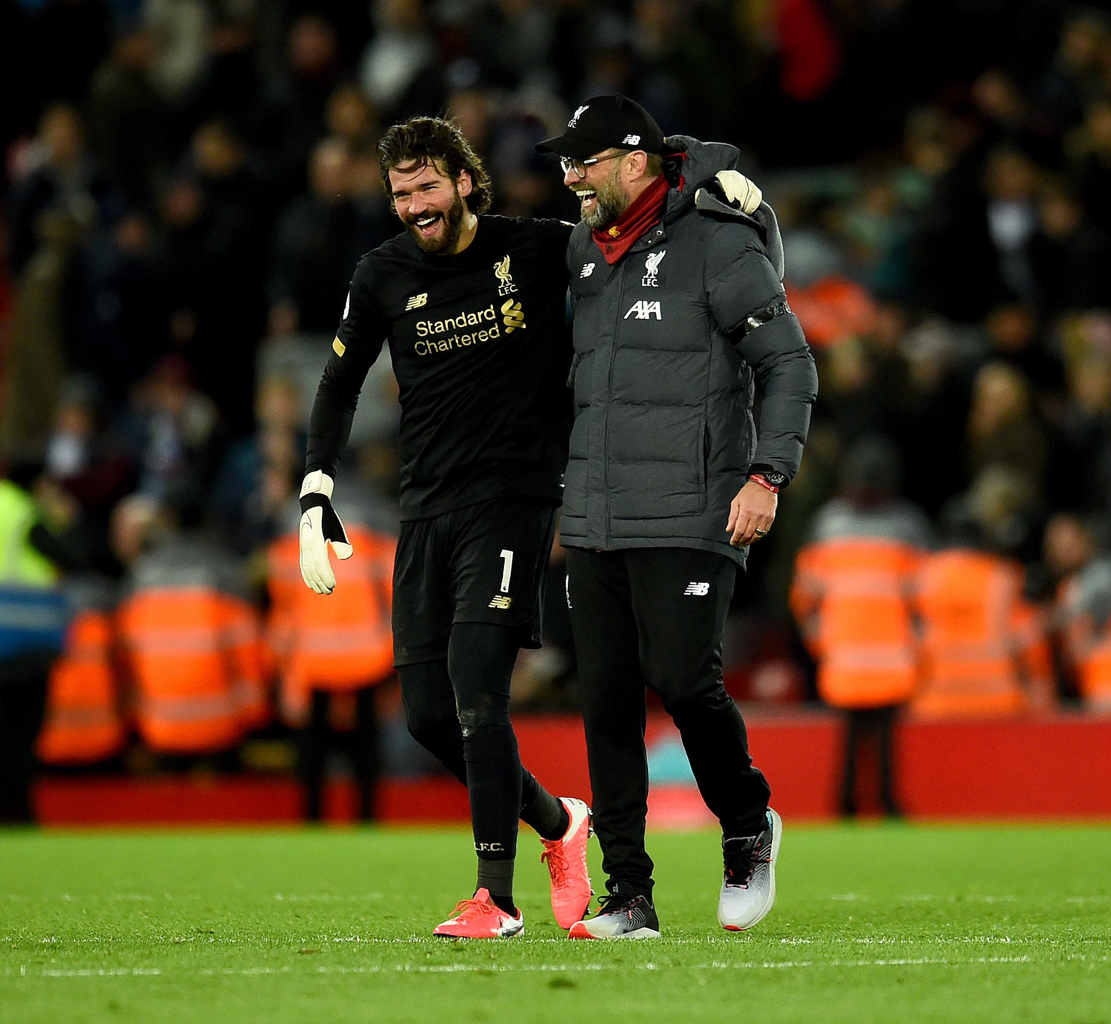 Jurgen Klopp with Alisson Becker - Liverpool FC v West Ham United - Premier League
