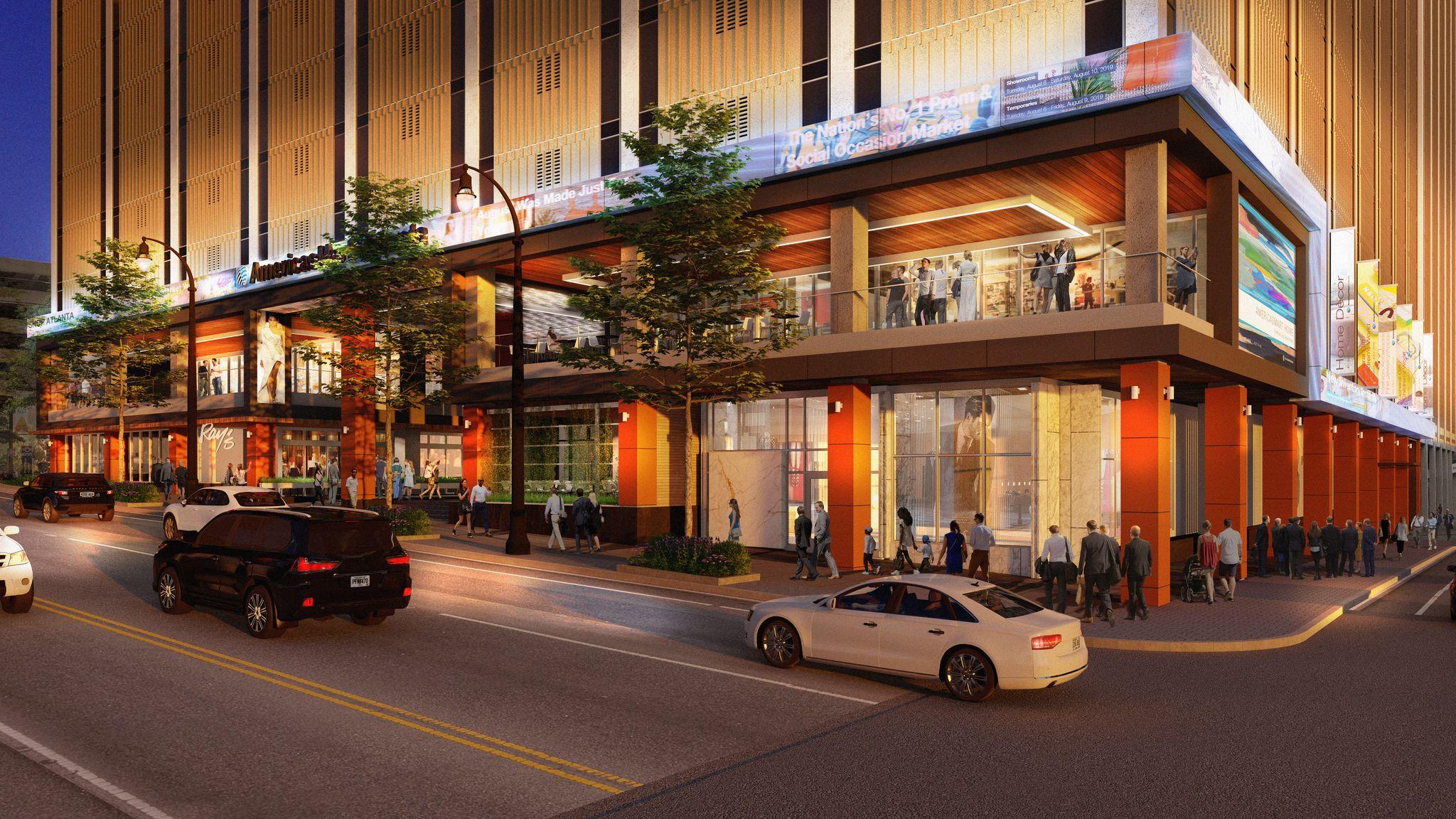 A rendering shows new digital signage, including a banner ticker, adorning AmericasMart.