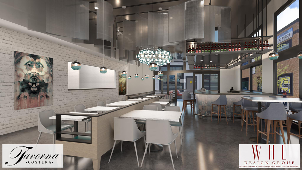 A rendering of the Taverna Costera fusion restaurant headed to the Arts District, joining a coffee shop and rooftop bar.