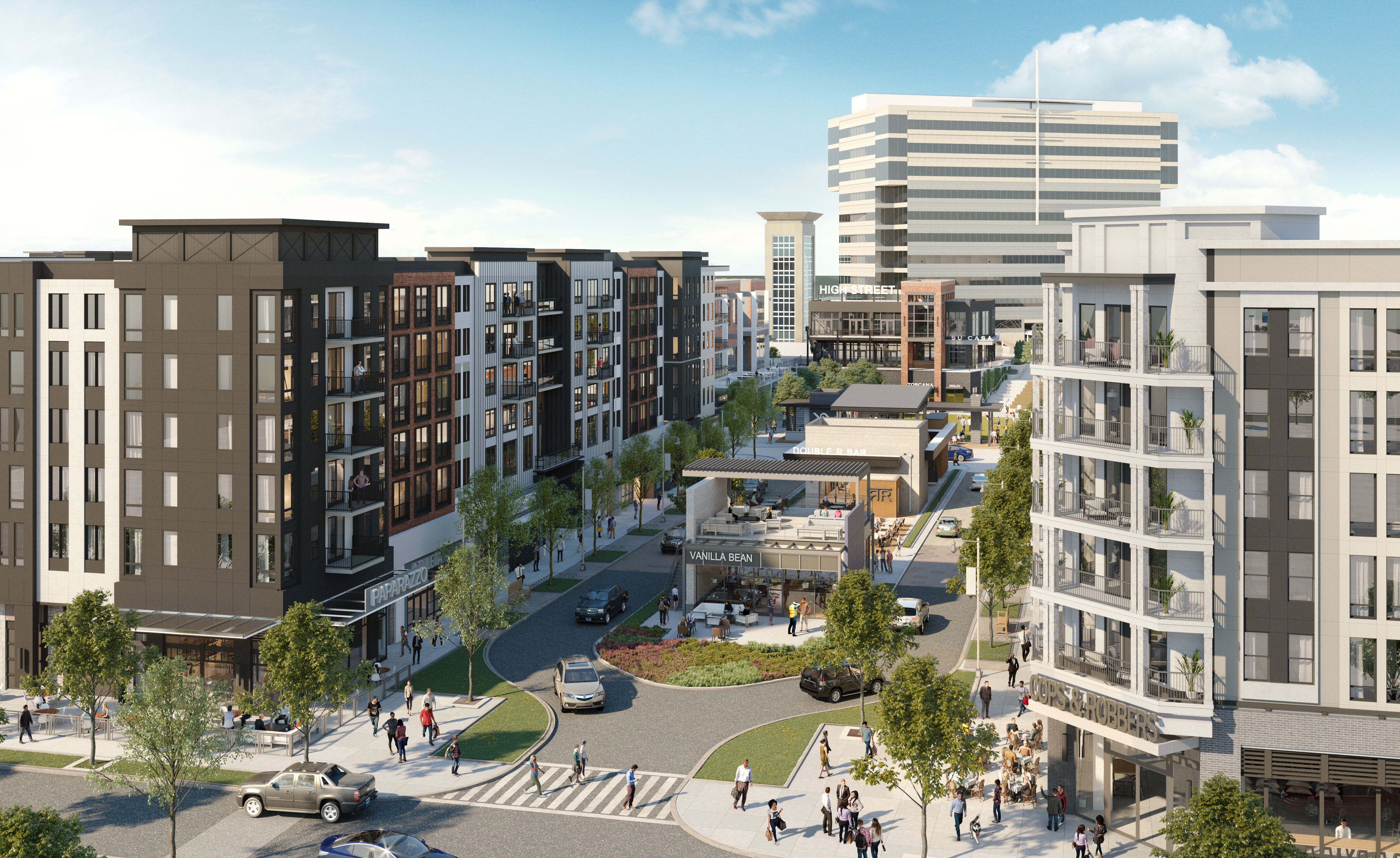 A rendering of a dense mixed-use community.