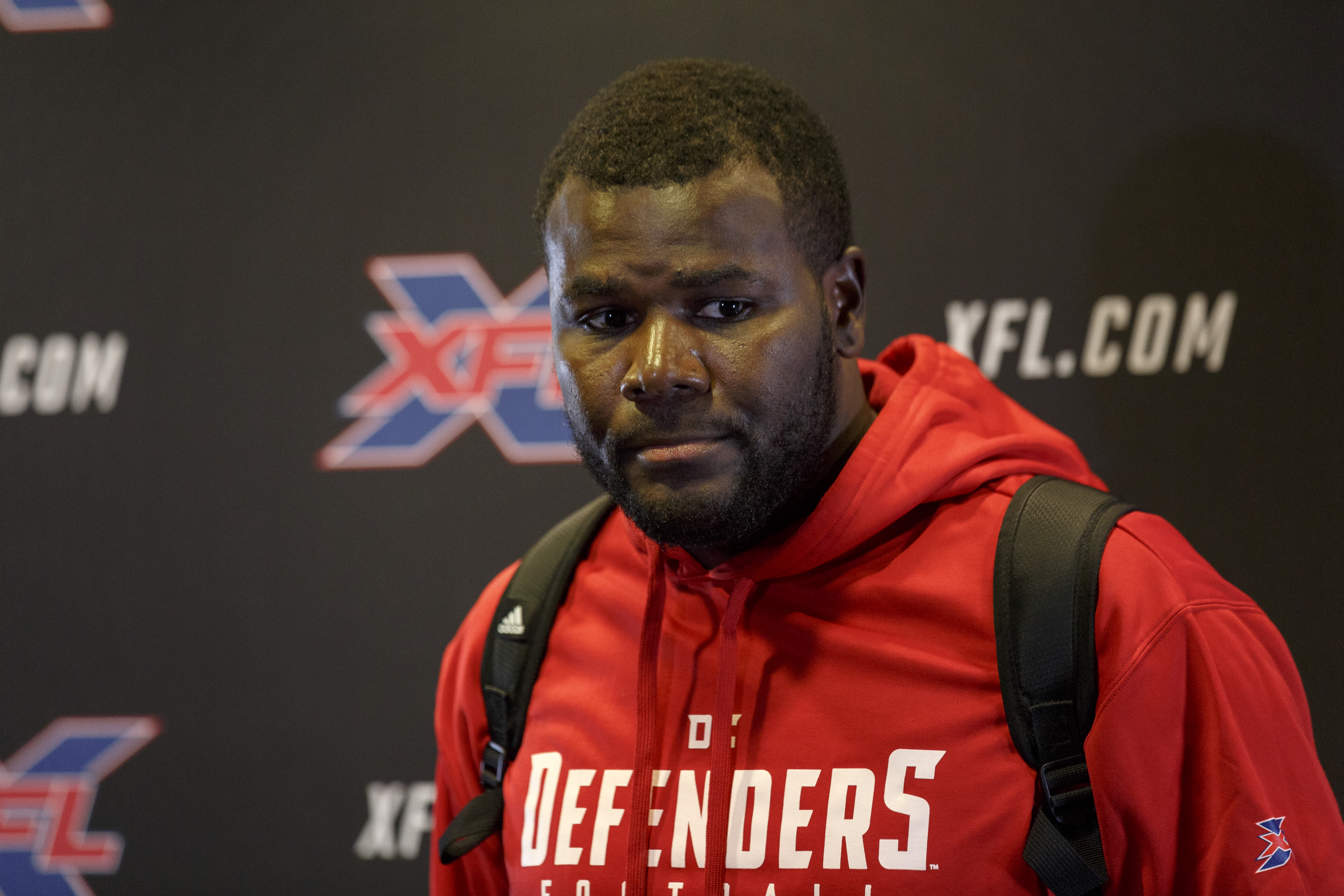 Quarterback Cardale Jones #12 of the DC Defenders answers questions from the media after the XFL Football game against the Tampa Bay Vipers at Raymond James Stadium on March 1, 2020 in Tampa, Florida. The Vipers defeated the Defenders 25 to 0.