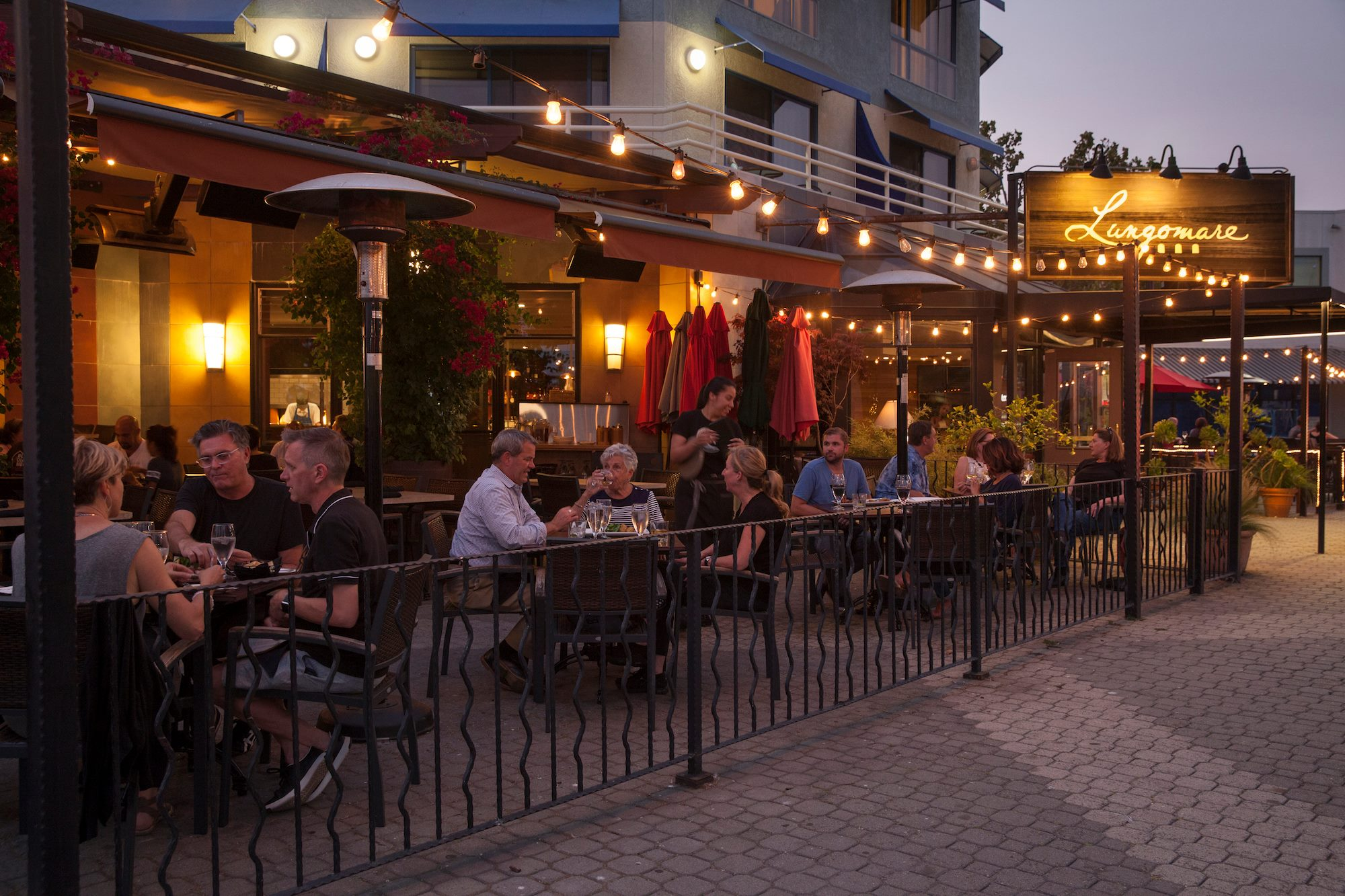 Lungomare's outdoor seating at night