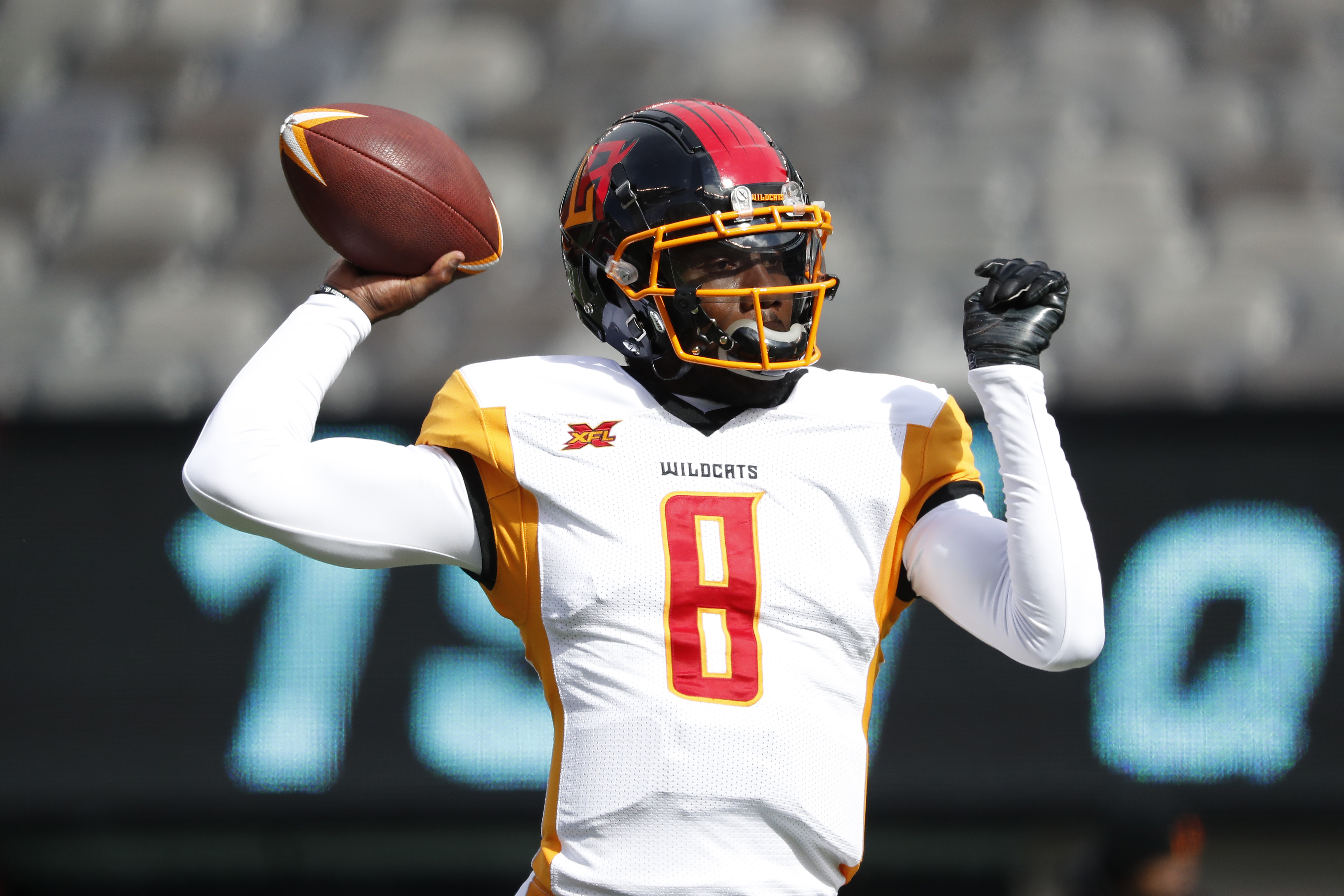 Josh Johnson #8 of the LA Wildcats during warmups before the start of of their XFL game against the NY Guardians at MetLife Stadium on February 29, 2020 in East Rutherford, New Jersey.