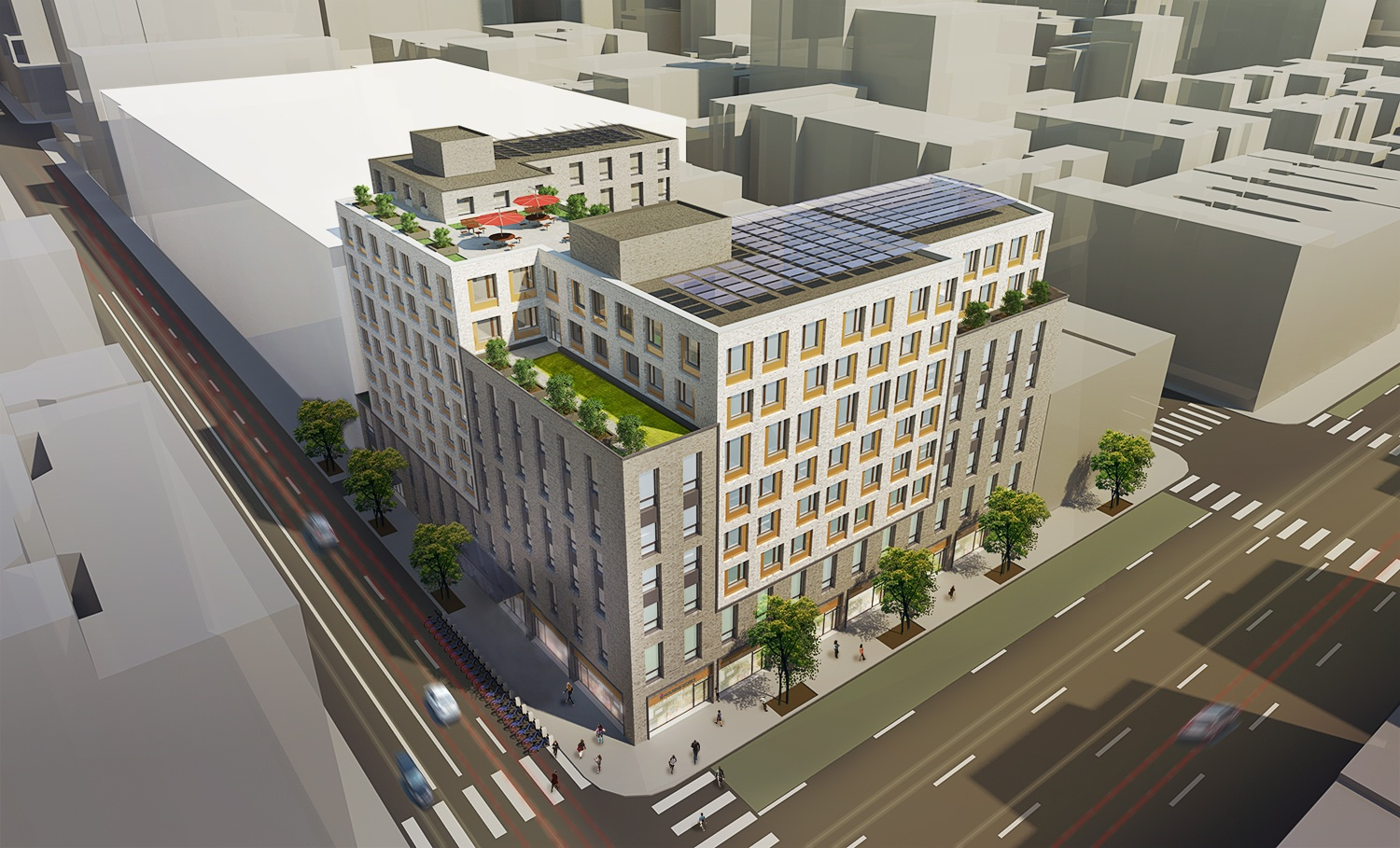 A rendering of a multifamily apartment building in New York City.