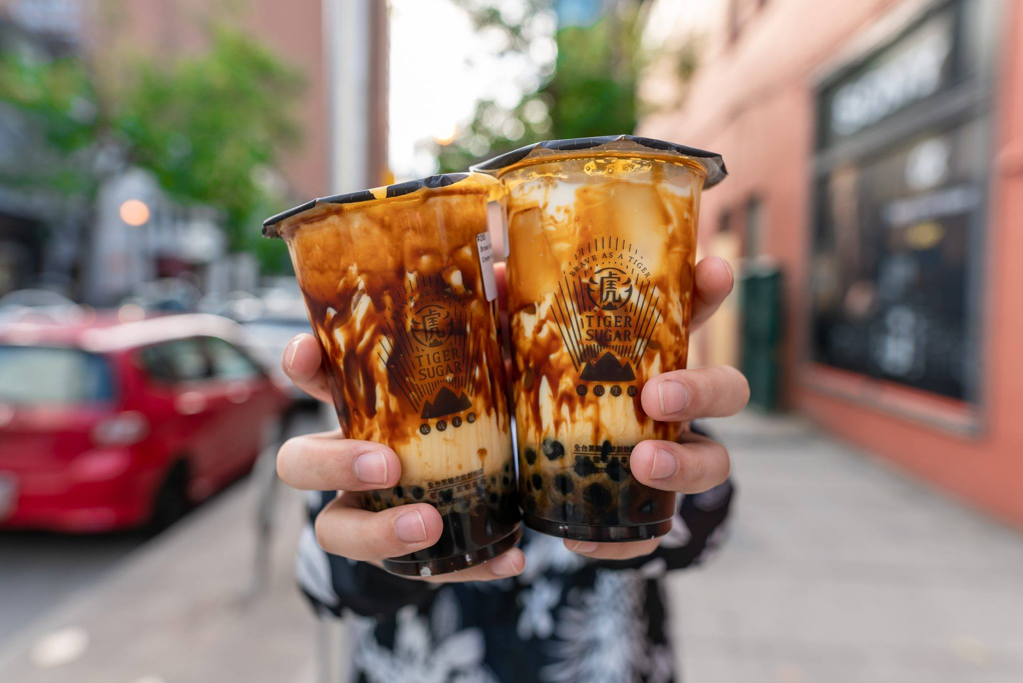 Two tiger-striped drinks