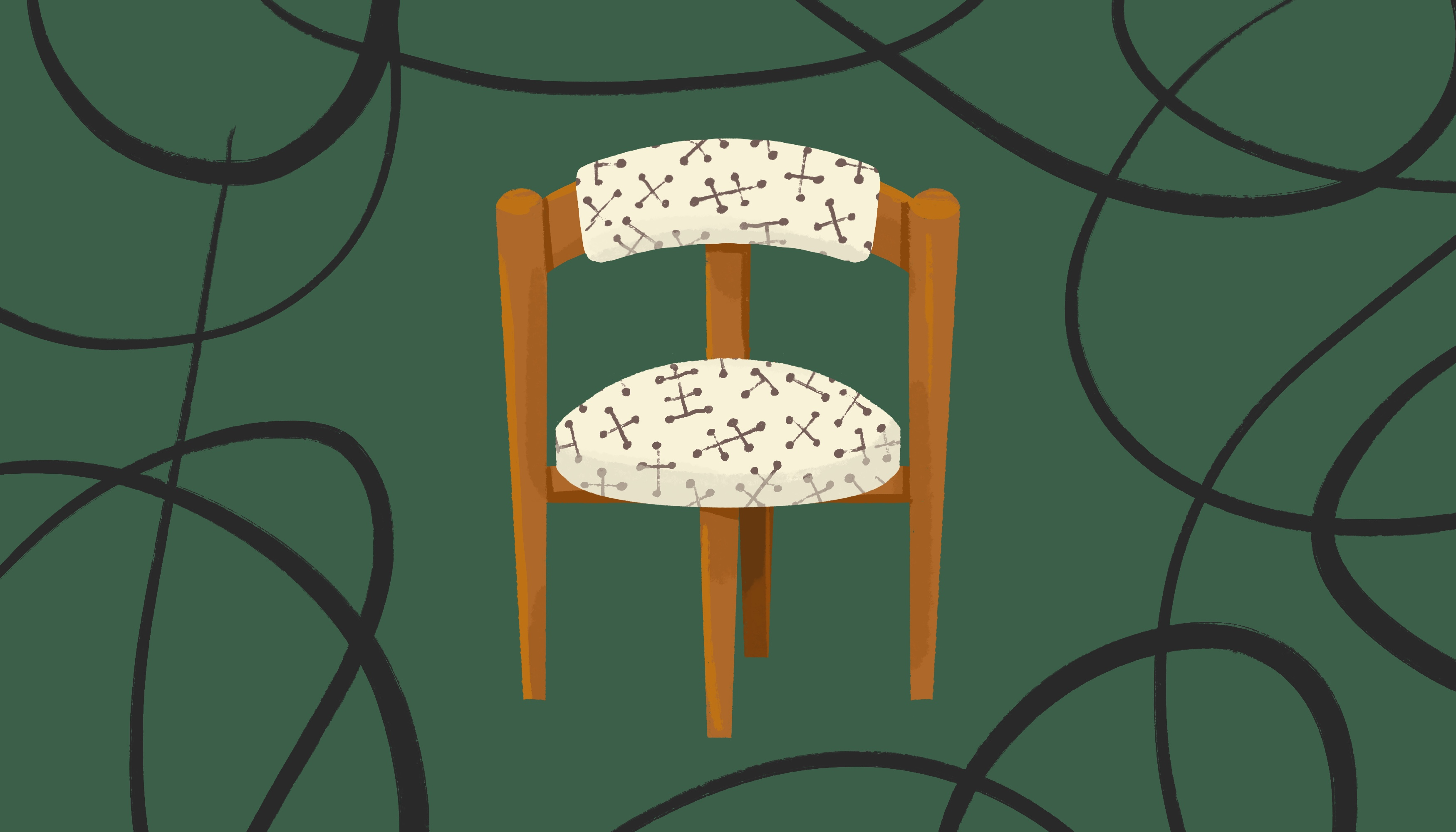 Illustration of a curved wooden chair with cream and black patterned upholstery, against a dark green background with black swirls.