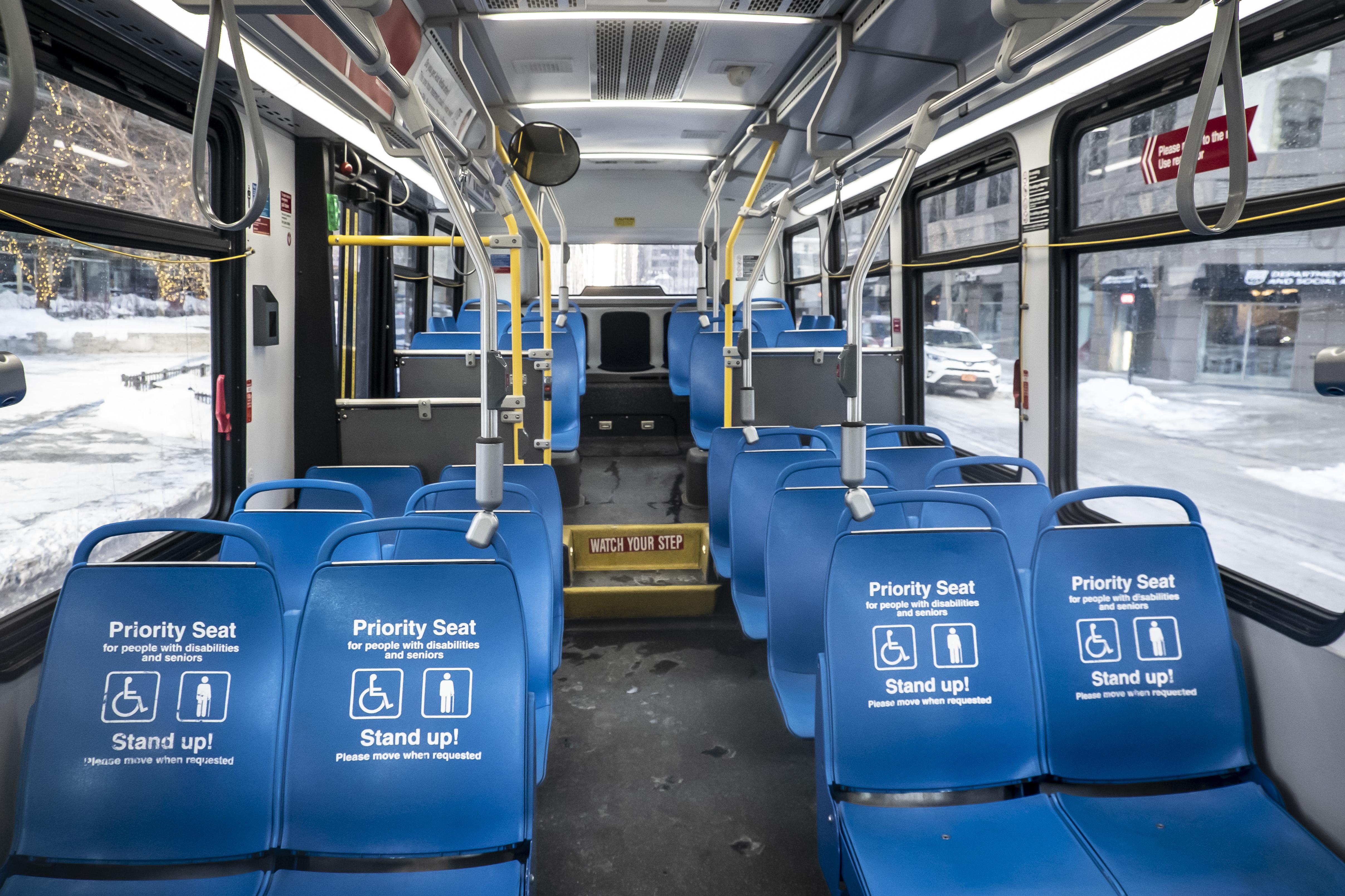 An empty CTA bus