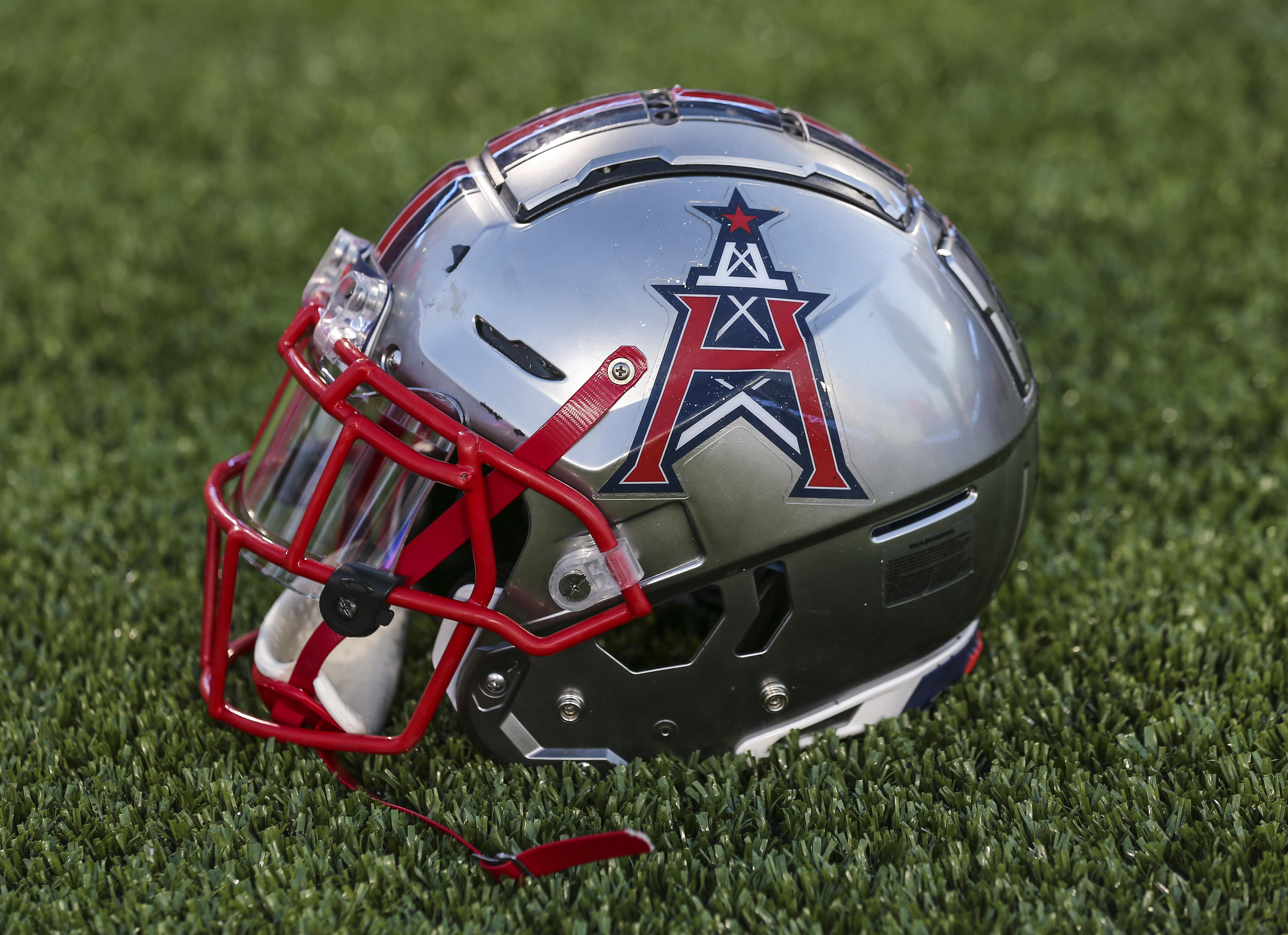 General view of a Houston Roughnecks helmet during a XFL football game against the Los Angeles Wildcats at TDECU Stadium.