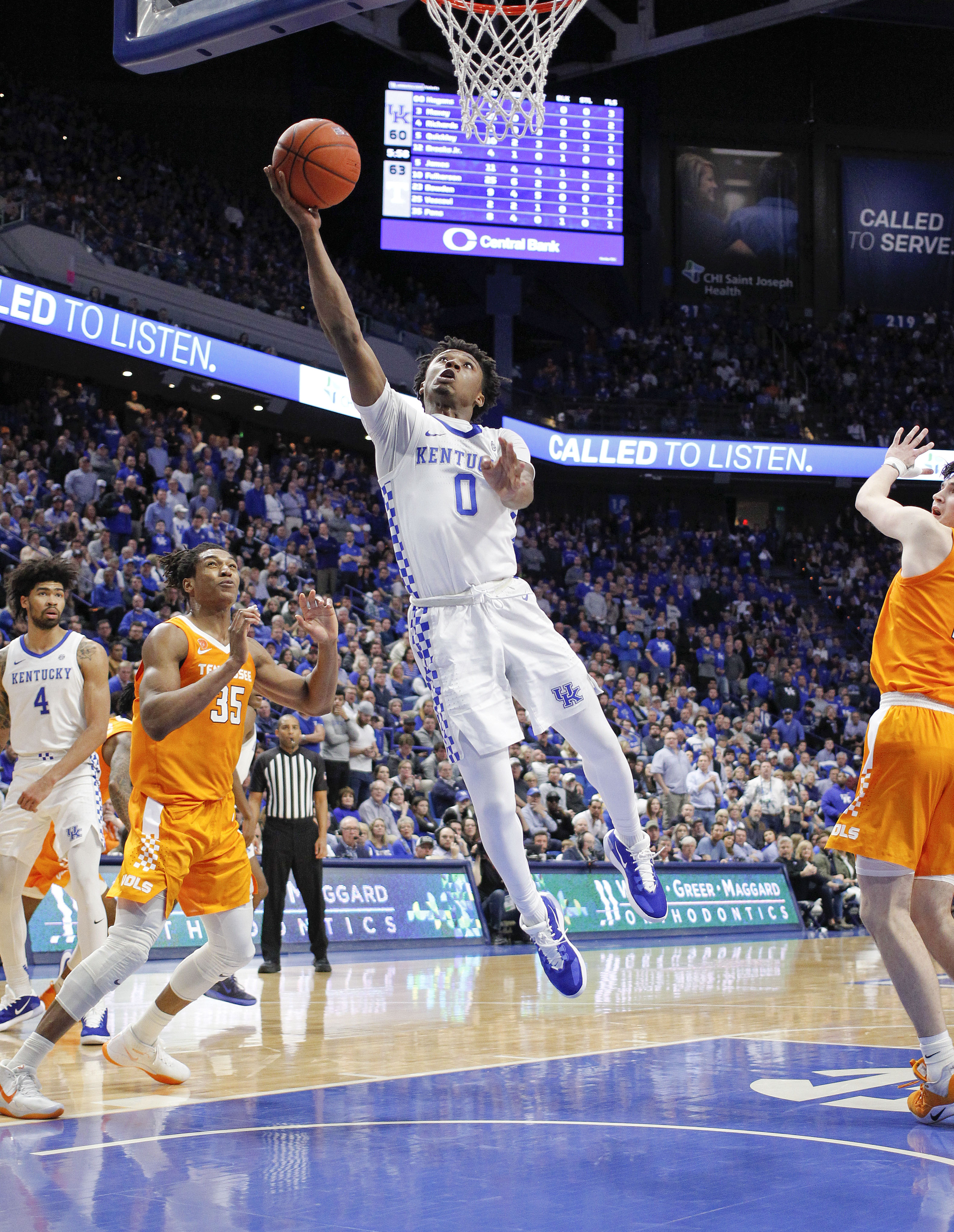Kentucky Wildcats guard Ashton Hagans shoots the ball against the Tennessee Volunteers in the second half at Rupp Arena.