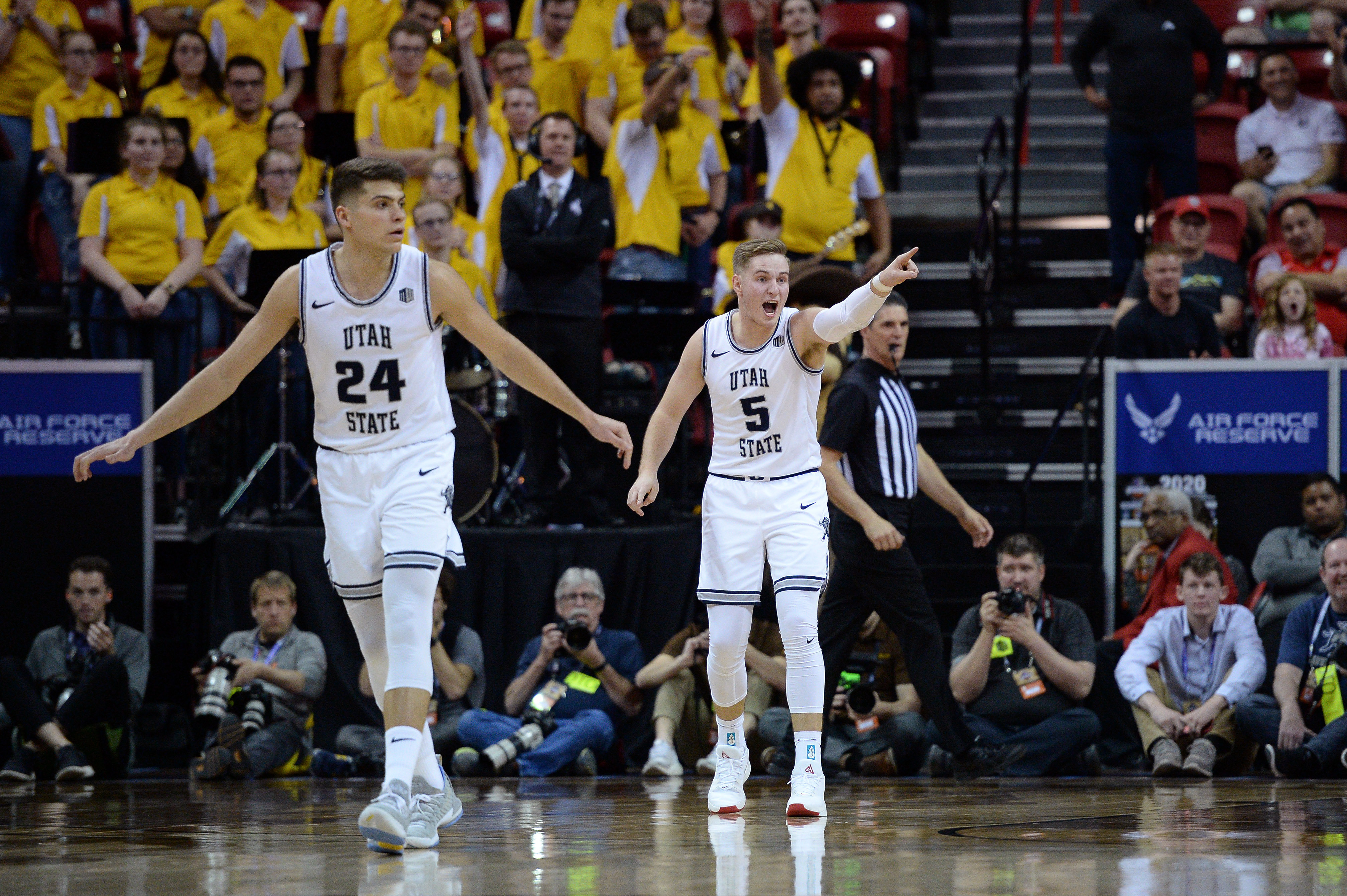 NCAA Basketball: Mountain West Conference Tournament- Wyoming Cowboys vs Utah State Aggies