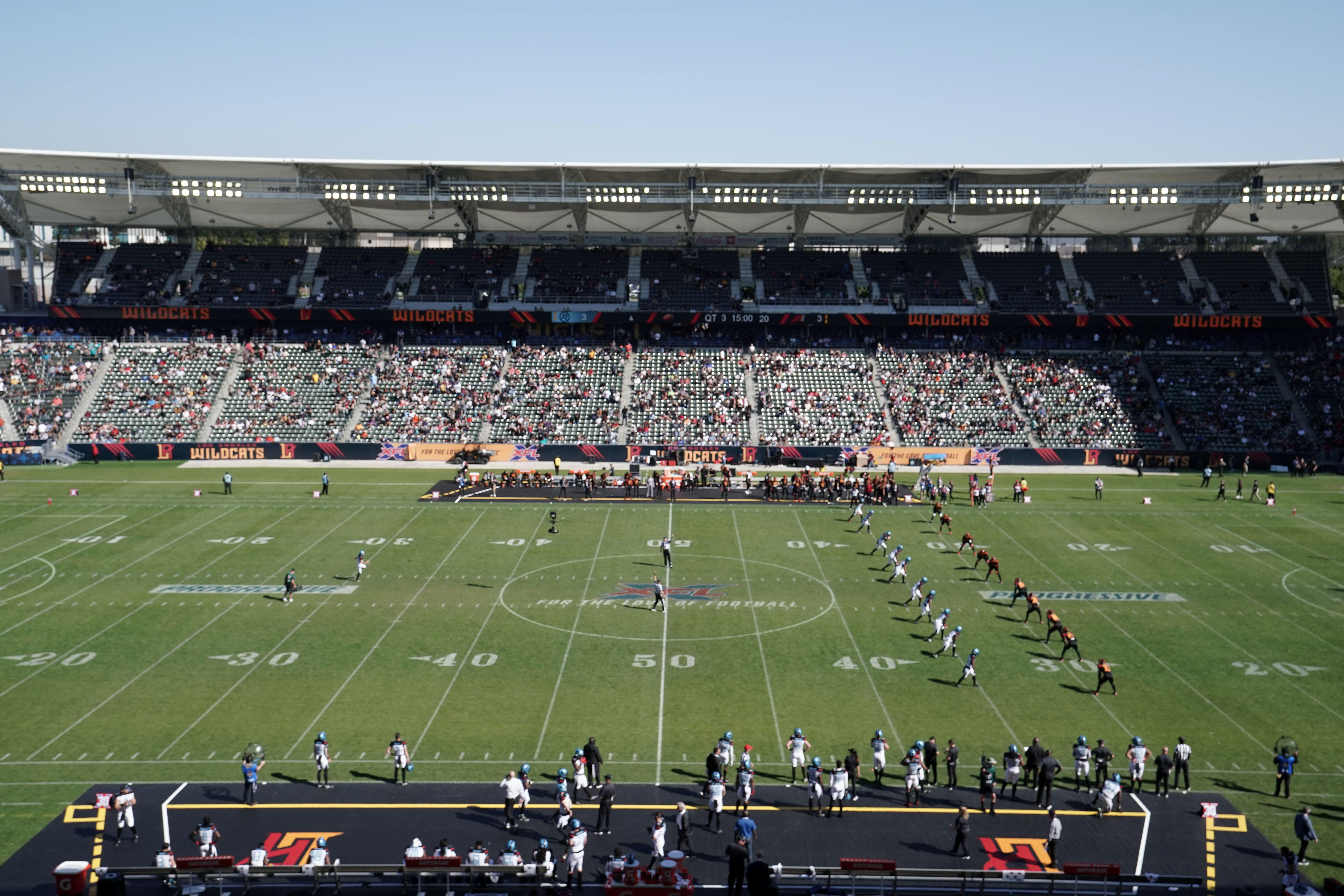 General overall view of kickoff at the start of the second half of the XFL game between the LA Wildcats and the Dallas Renegades Dignity Health Sports Park.