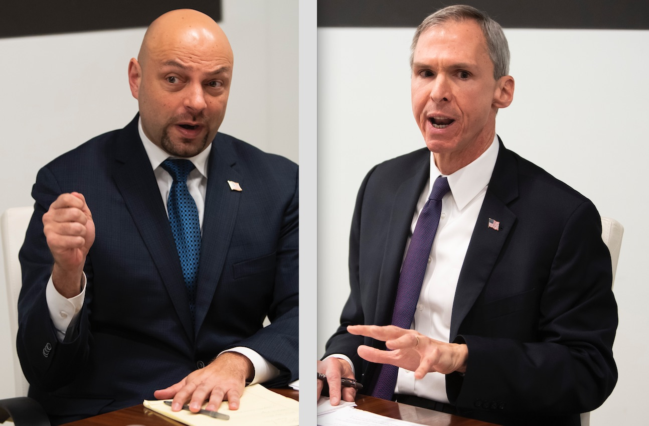 Rep. Dan Lipinski, left, and challenger Rush Darwish, right, during an appearance before the Chicago Sun-Times Editorial Board in Januyary.