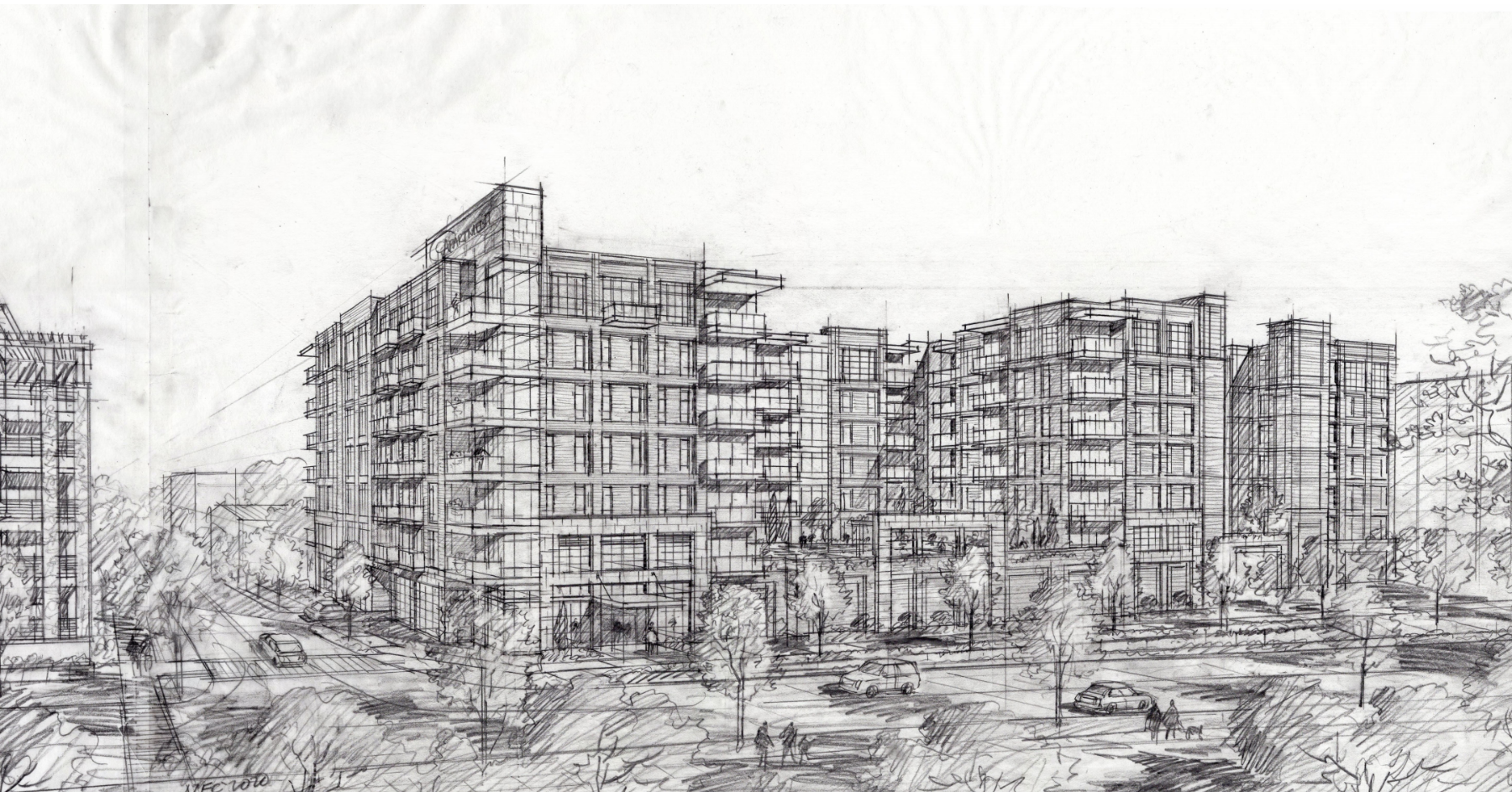 A rough sketch of a seven story, modern-style apartment building.