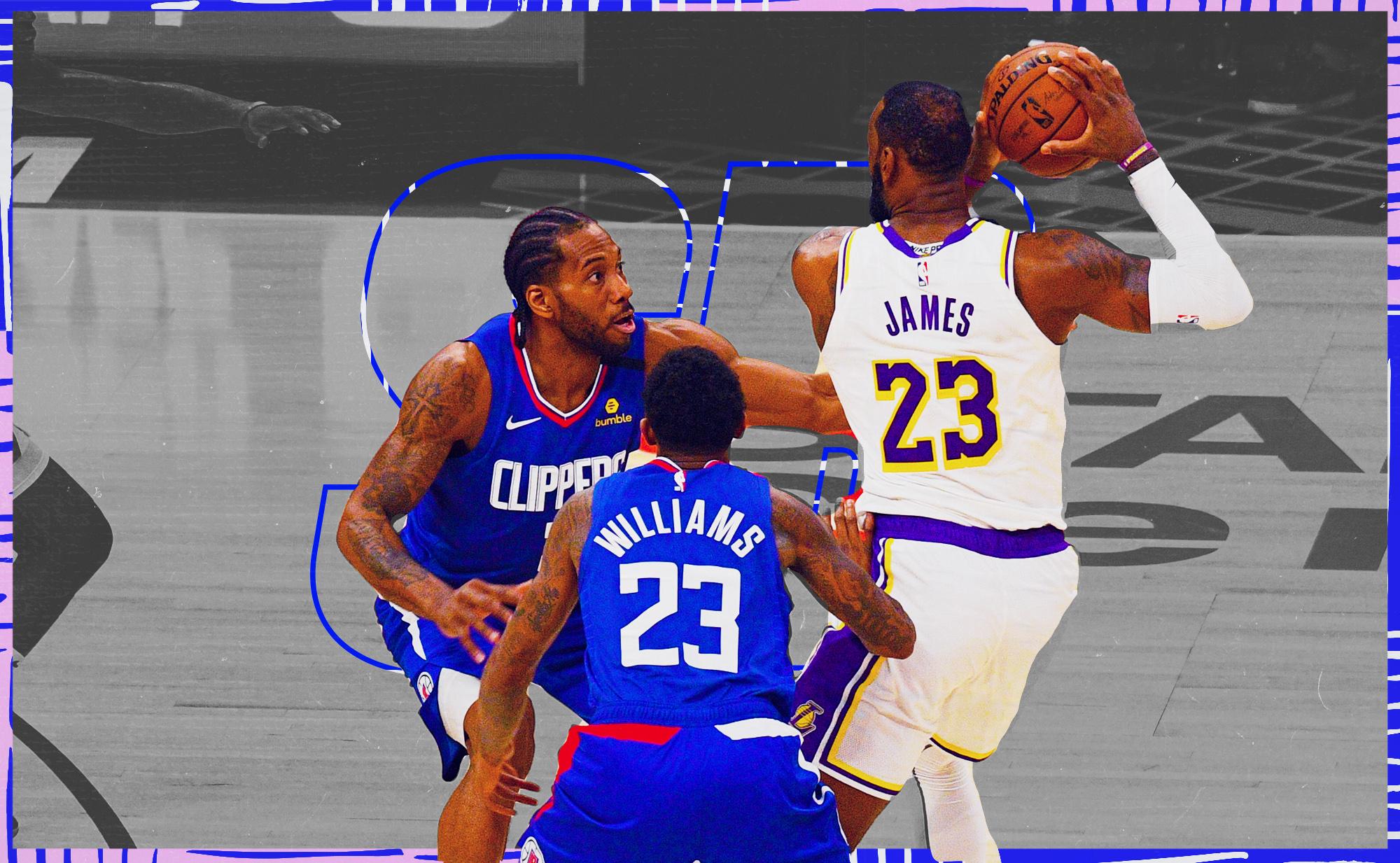 LeBron James defended by Kawhi Leonard and Paul George.