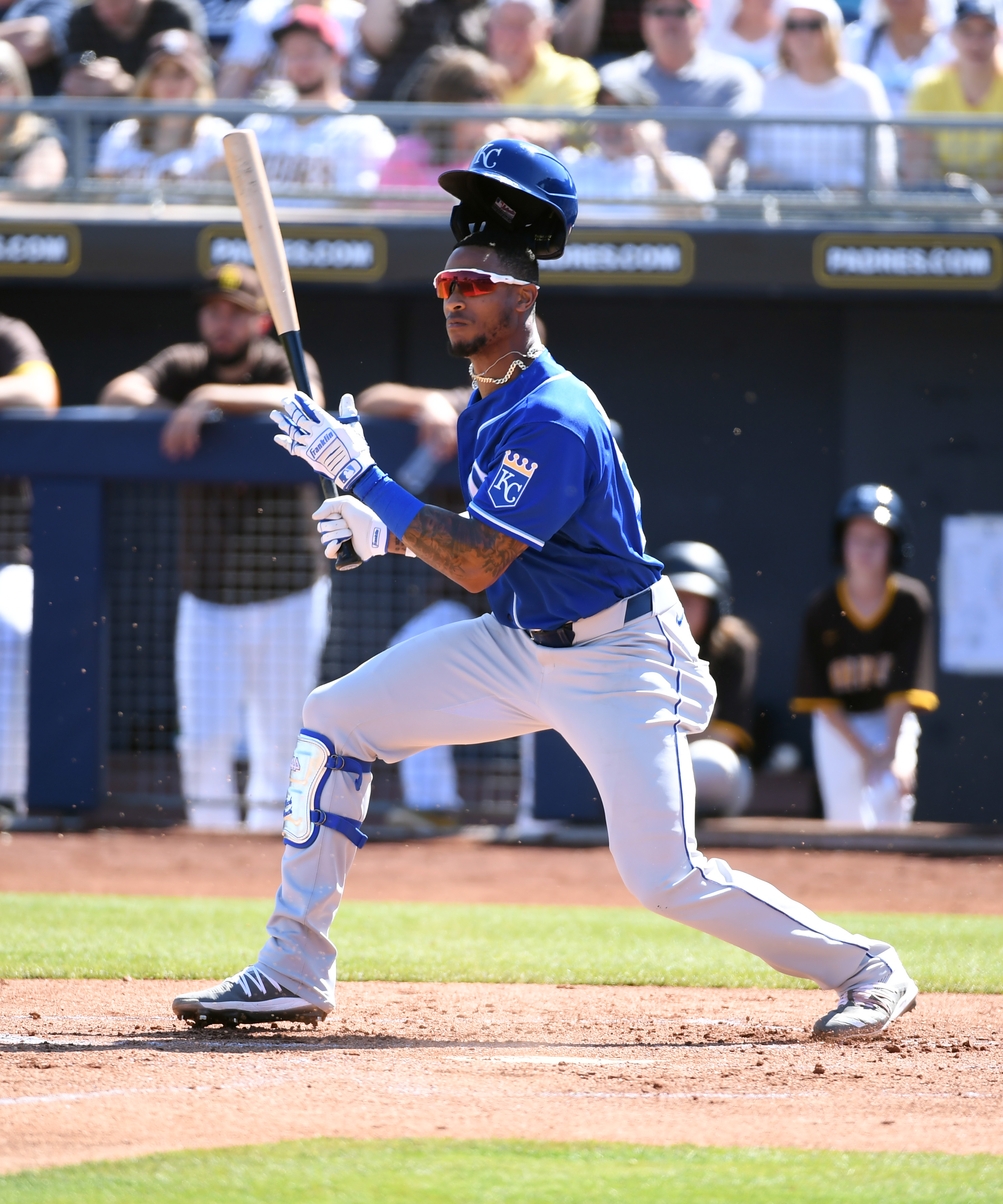 Nick Heath #73 of the Kansas City Royals follows through on a swing during a spring training game against the San Diego Padres on March 04, 2020 in Peoria, Arizona.