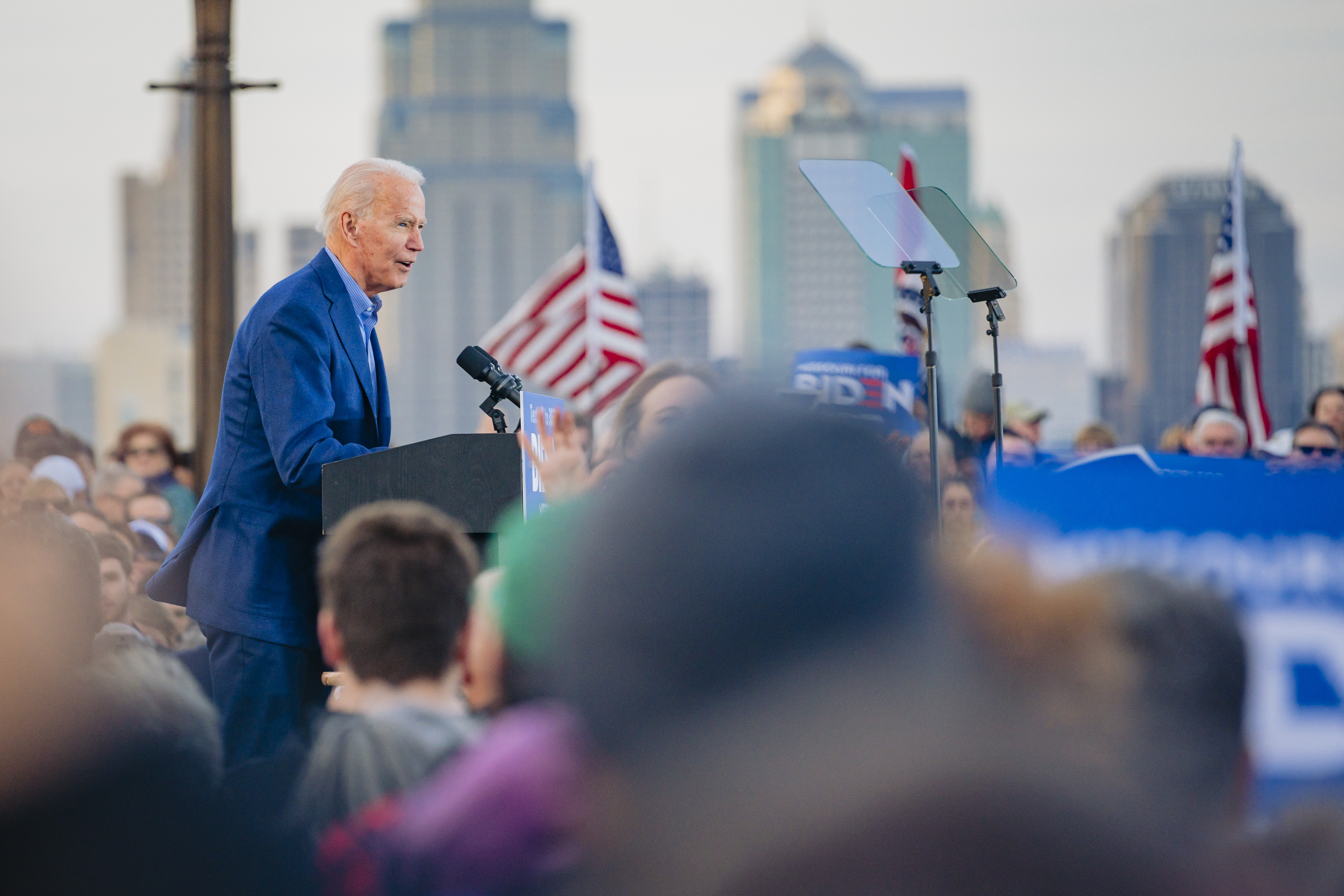 Vice President Joe Biden stands in front of the National World War I Museum and Memorial on March 7, 2020.