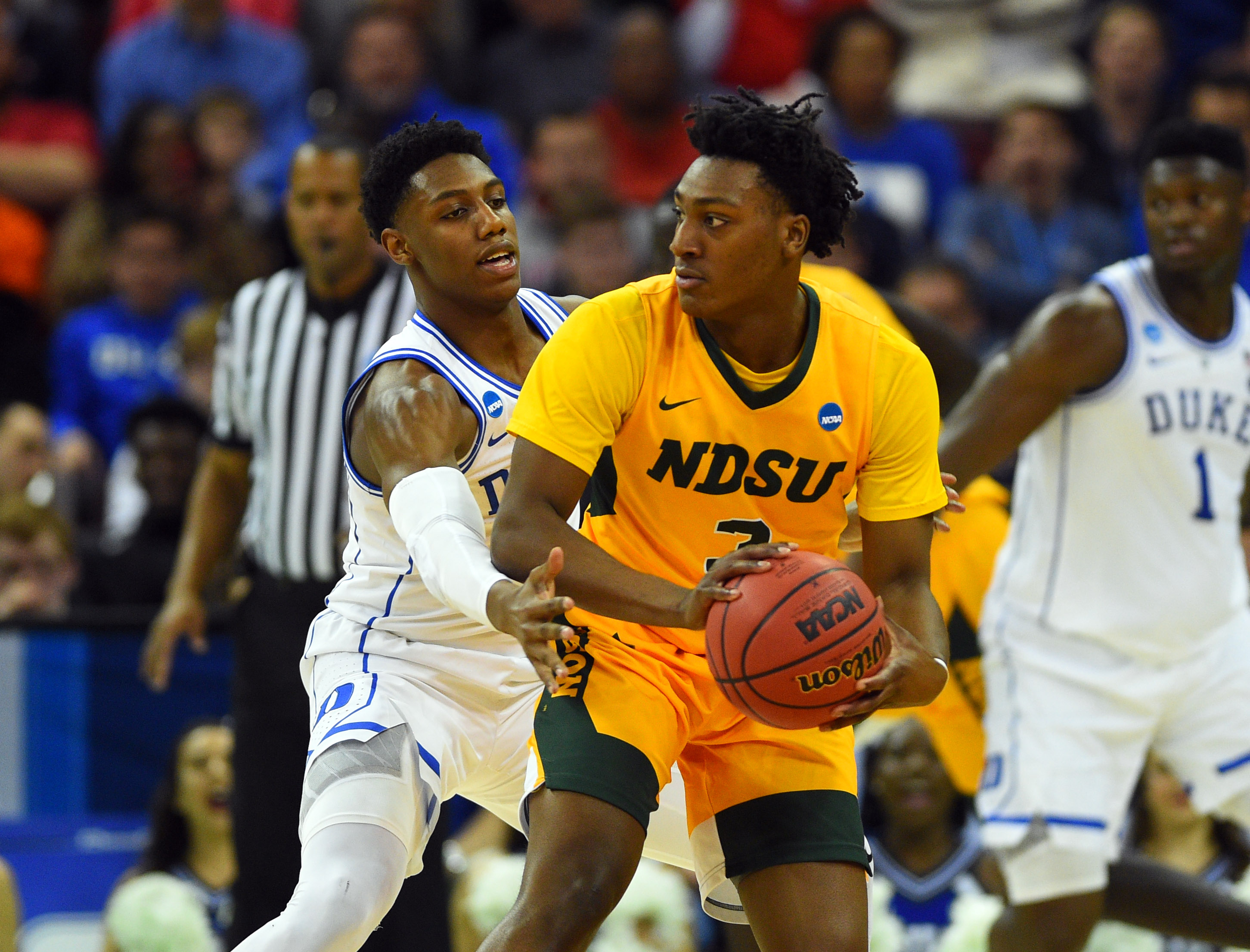 North Dakota State Bison guard Tyree Eady looks to pass during the first half of the game against the Duke Blue Devils in the first round of the 2019 NCAA Tournament at Colonial Life Arena.