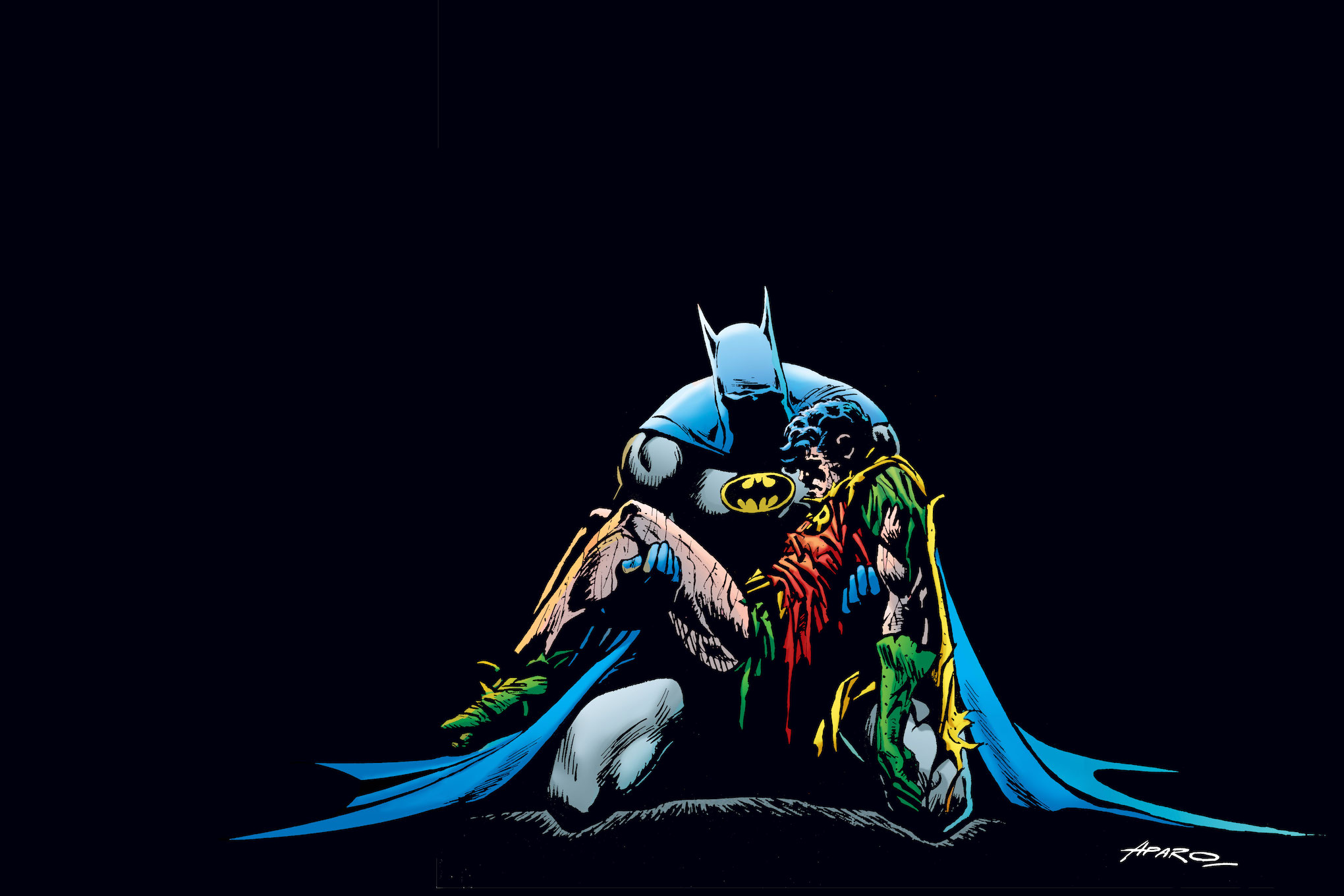 A sorrowful Batman cradles the bloody body of Jason Todd, the second Robin.
