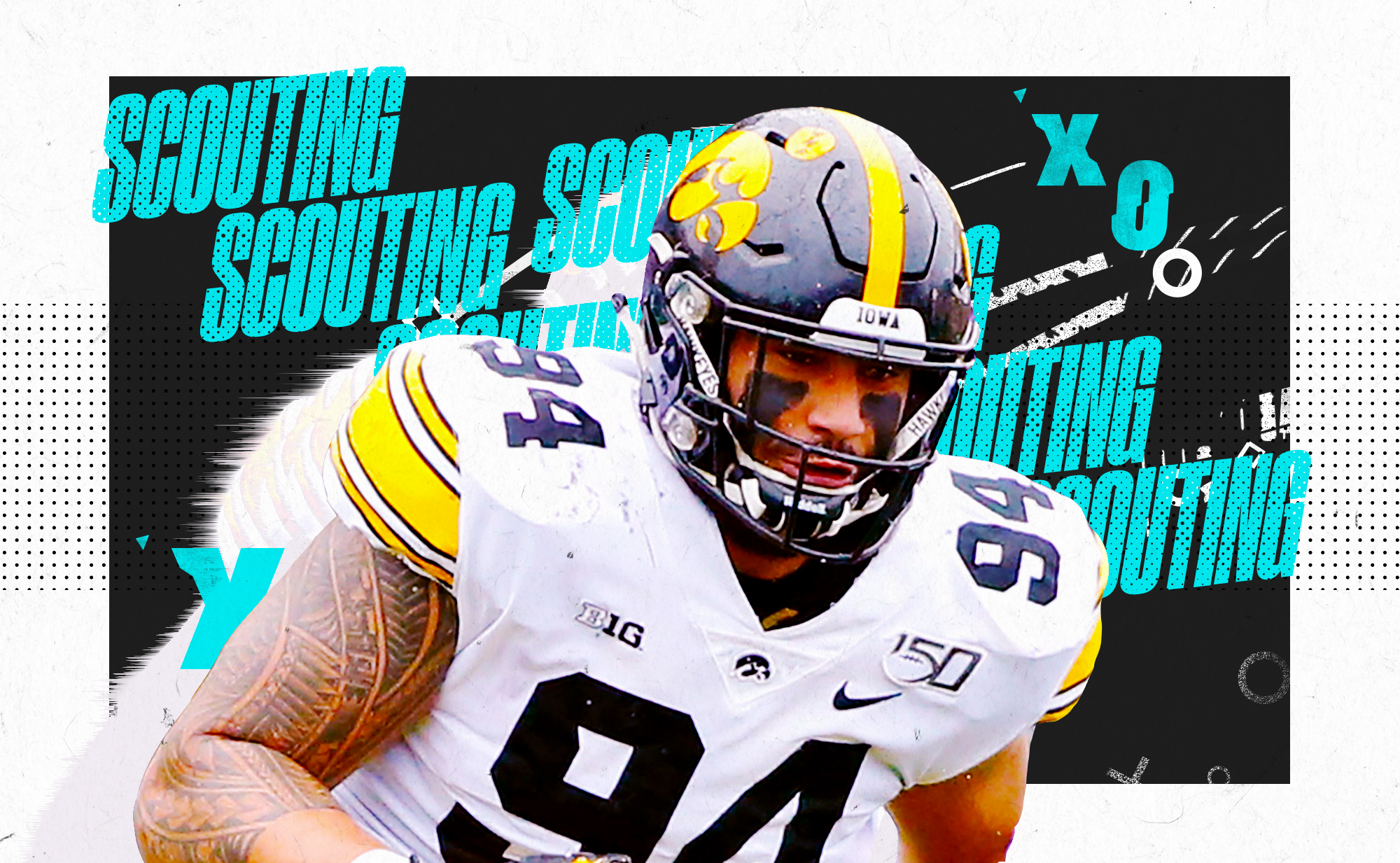 """An illustration of NFL DE prospect AJ Epenesa at Iowa, superimposed on a black and white background with """"SCOUTING"""" and """"X""""s and """"O""""s in aqua lettering"""