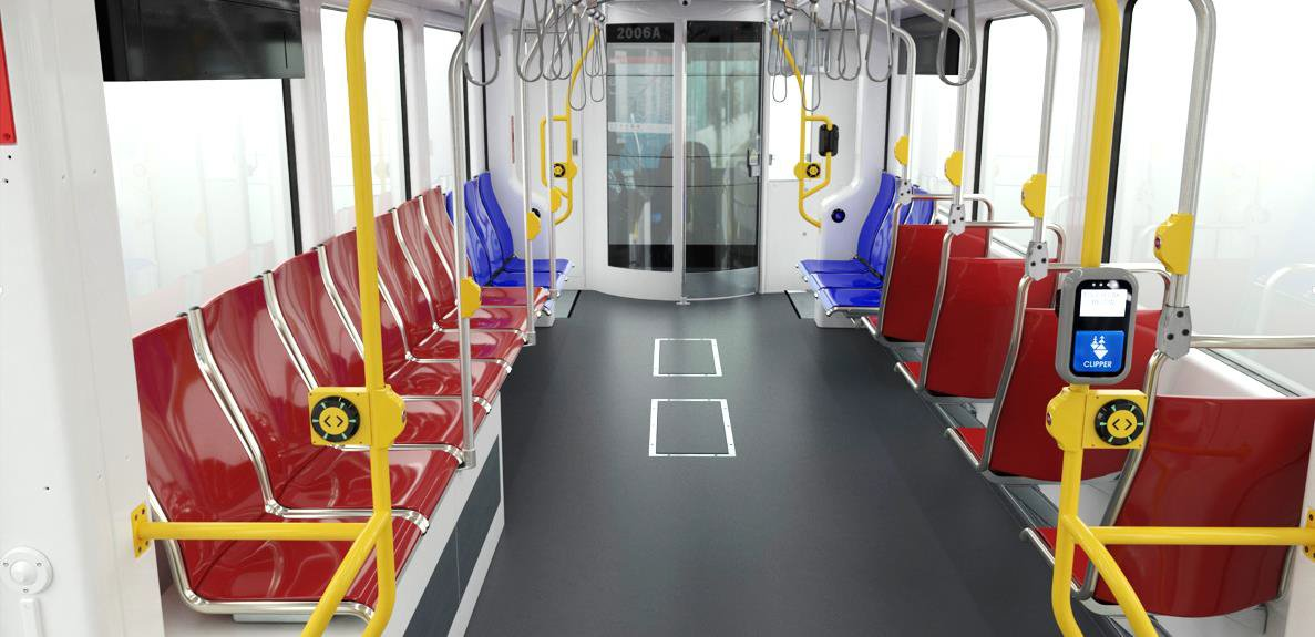 A rendering of the inside of a subway train car.