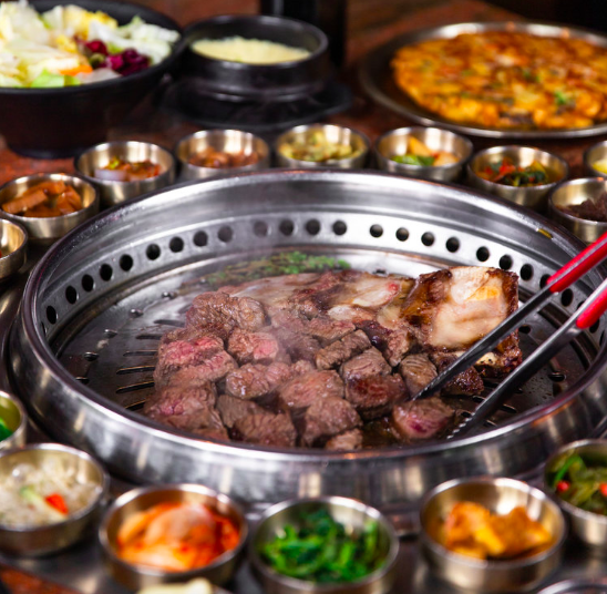 A grill at Genwa Korean BBQ in Los Angeles, California