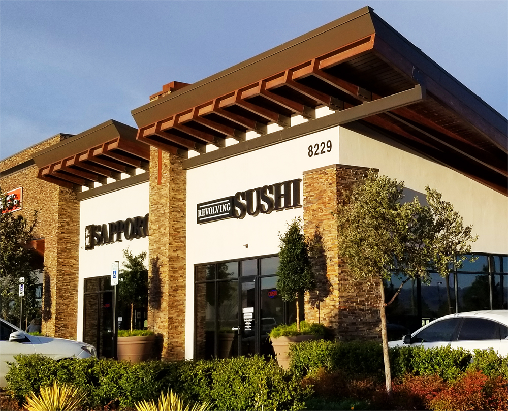 Exterior of Sapporo Revolving Sushi, a new home for conveyor belt Japanese dining, close to the Silverton Casino.