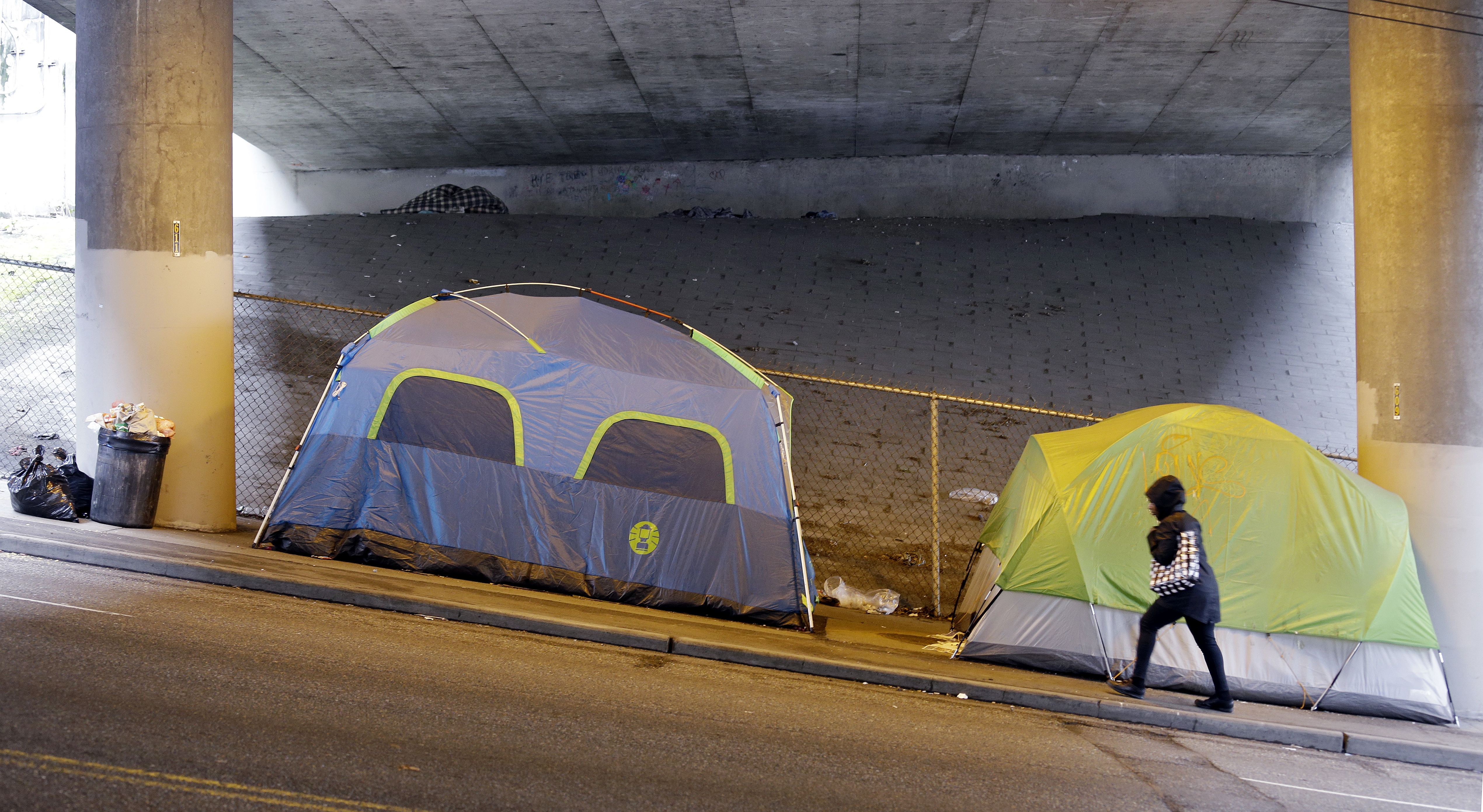 A person walks up a hill next to brightly colored tents lined up beneath a highway adjacent to downtown Seattle.