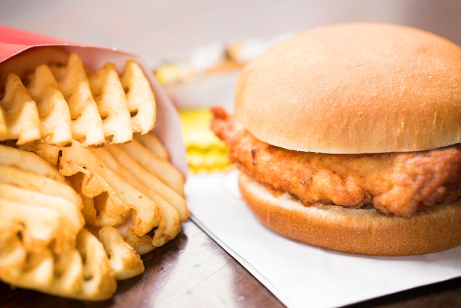 A chicken sandwich and fries from Chick-fil-A