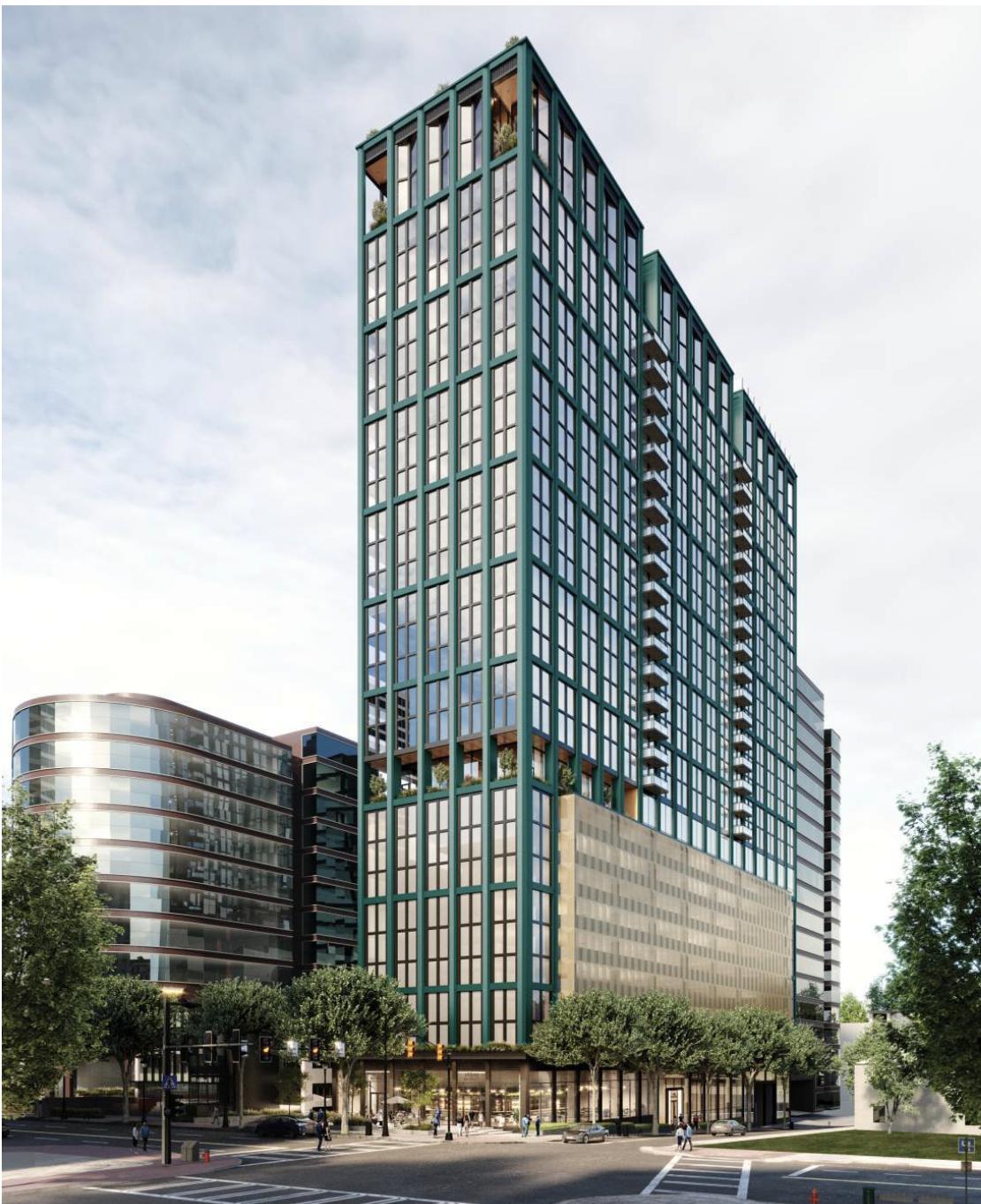 A rendering of the modern 34-floor building.