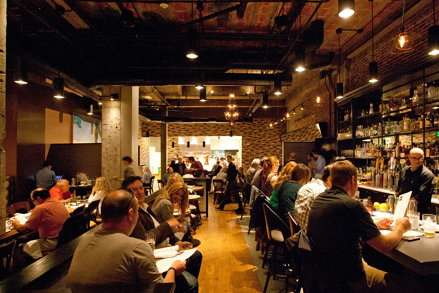 A full bar and dining room at Imperial in downtown Portland.