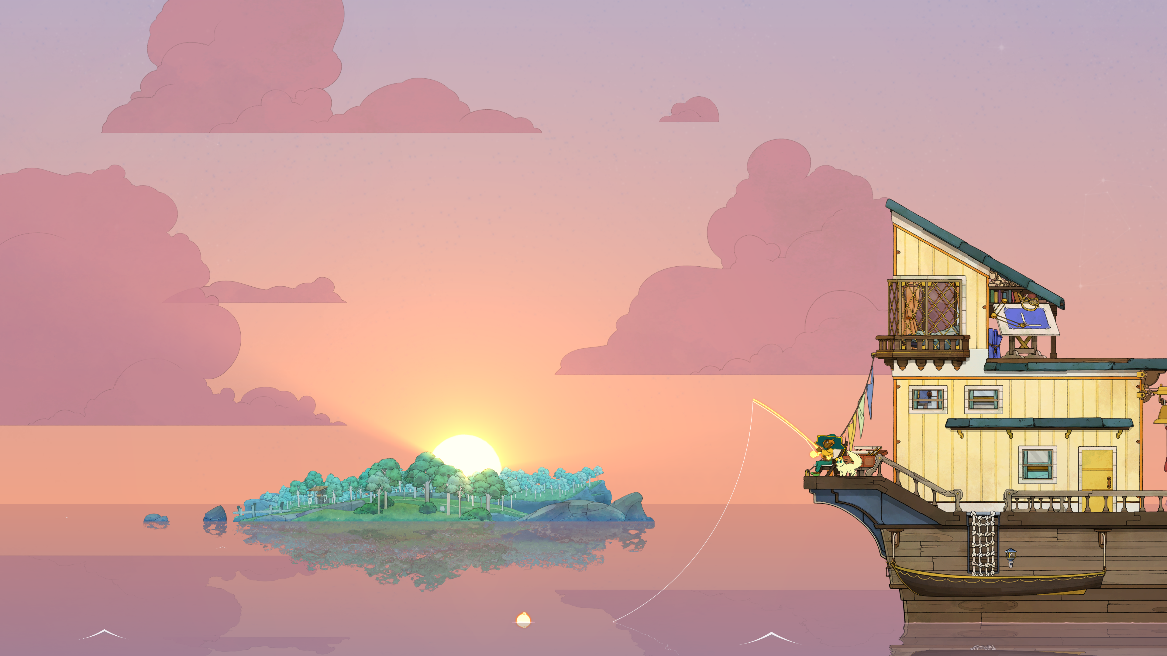 a ship with a person fishing, with an island in the center that the sun is setting behind, in Spiritfarer