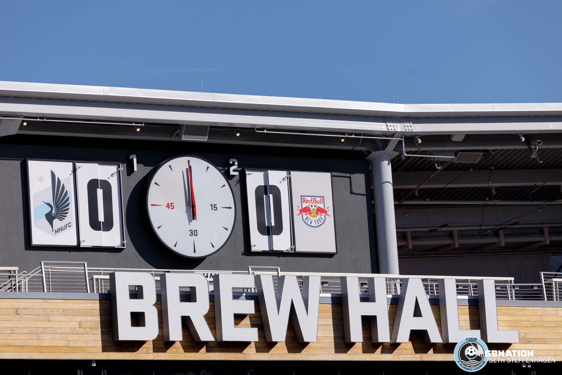 March 10, 2020 - Saint Paul, Minnesota, United States - The scoreboard at Allianz Field is ready for the home opener versus New York Red Bulls at Allianz Field.