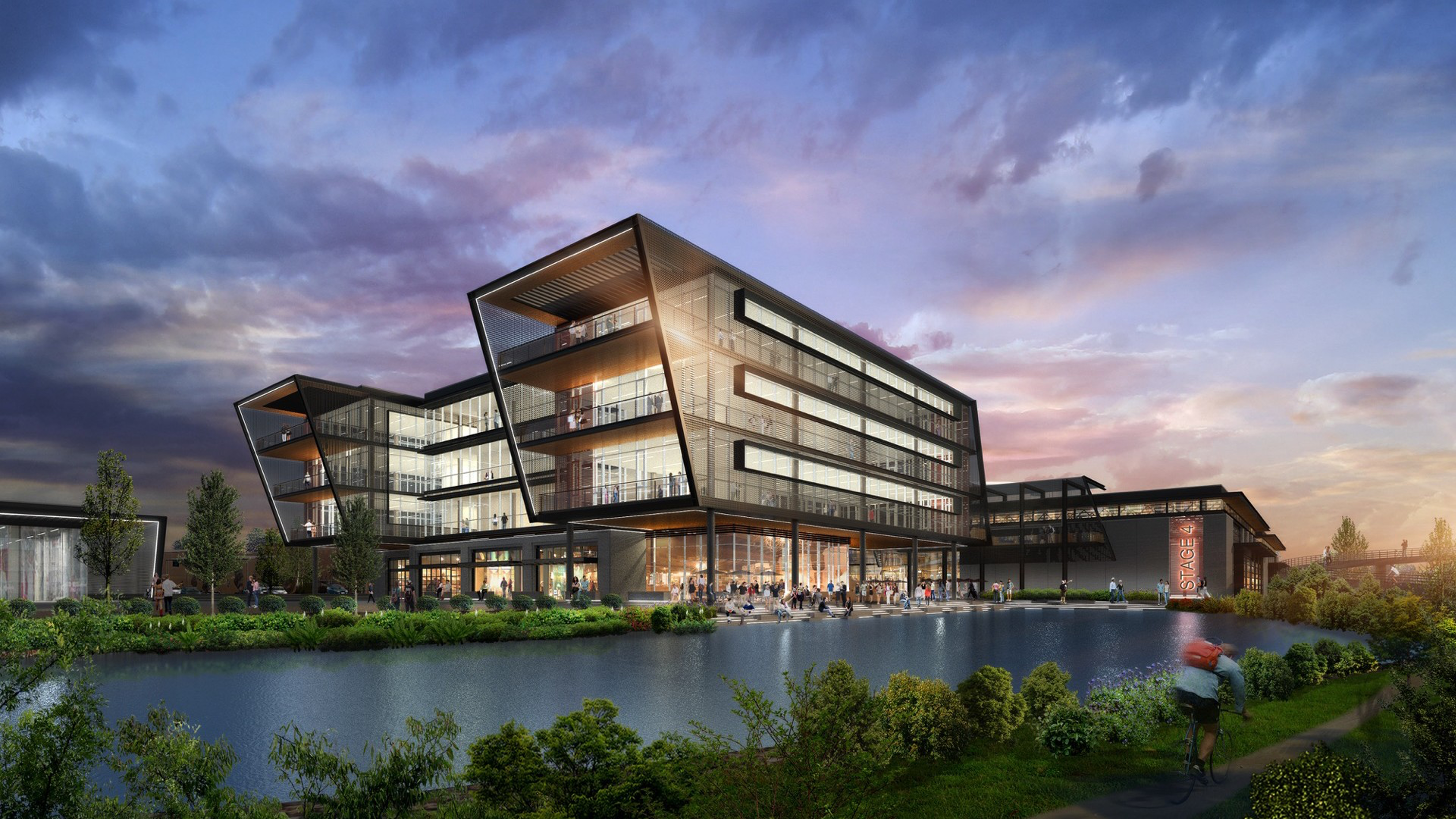 A rendering of a sleek, four-story office complex, adorned in glass and sharp angles.