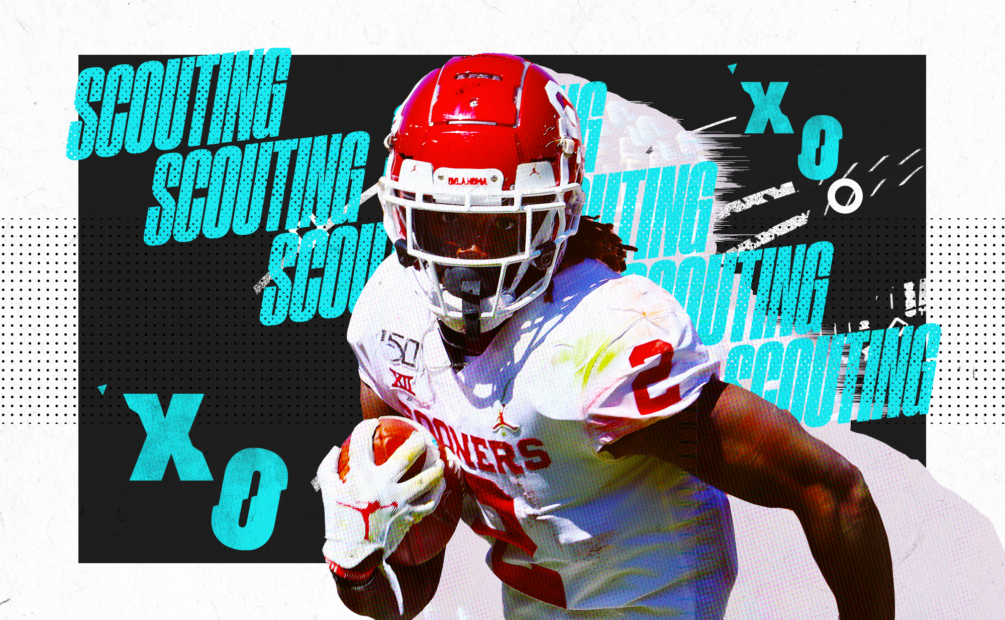 """An illustration of NFL WR prospect CeeDee Lamb running with the ball at Oklahoma, superimposed on a black and white background with """"SCOUTING"""" and """"X""""s and """"O""""s in aqua lettering"""