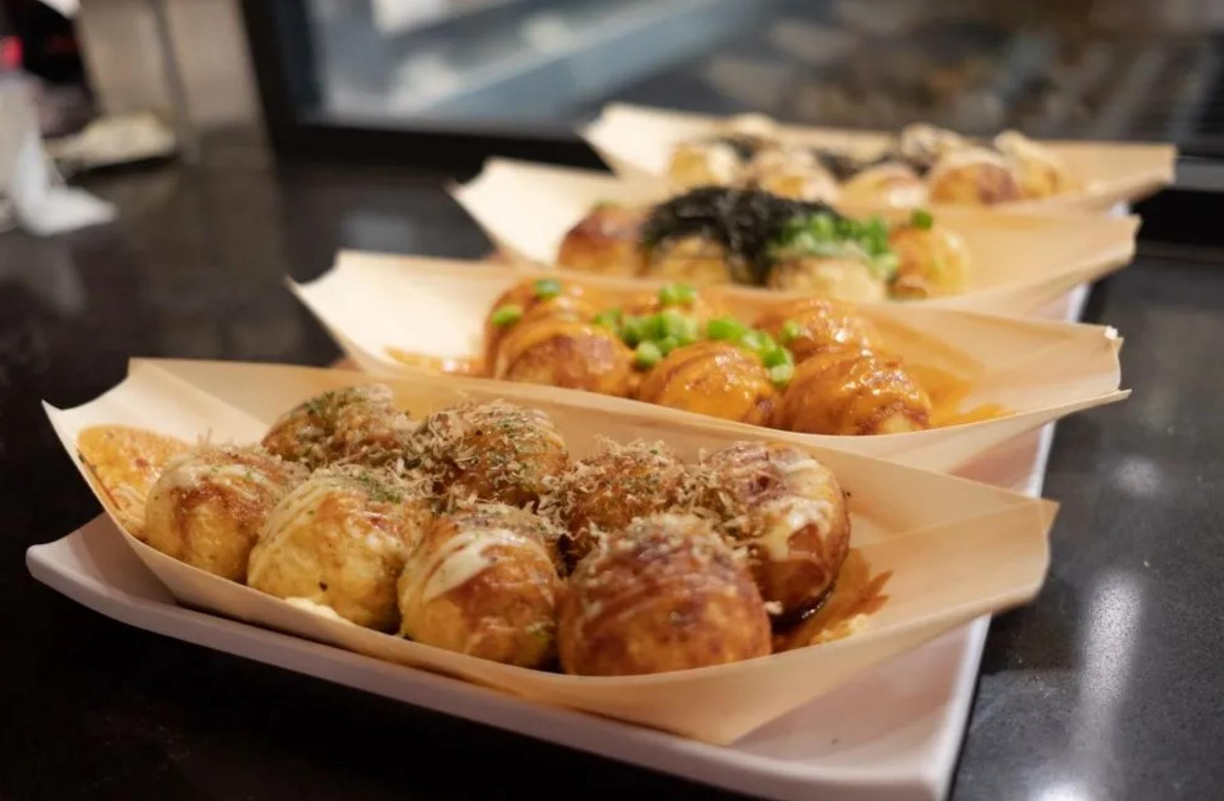 Three takoyaki dishes