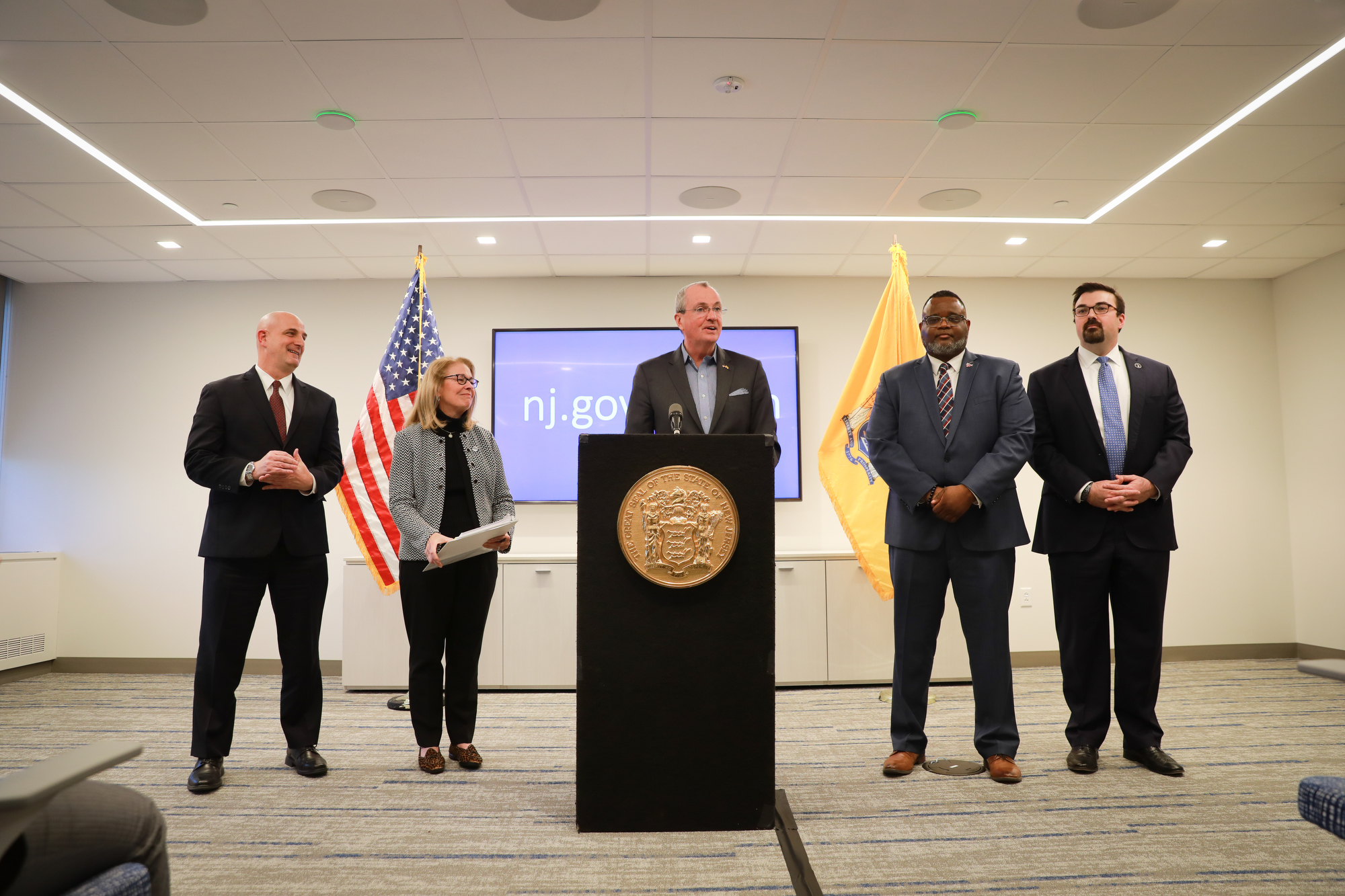 Gov. Phil Murphy with state officials at a press conference on the coronavirus in January. Murphy gave another briefing on Monday.