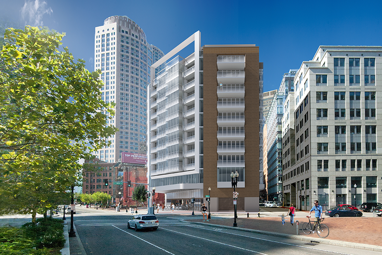 Rendering of a 12-story condo building rising sharply from a streetscape.