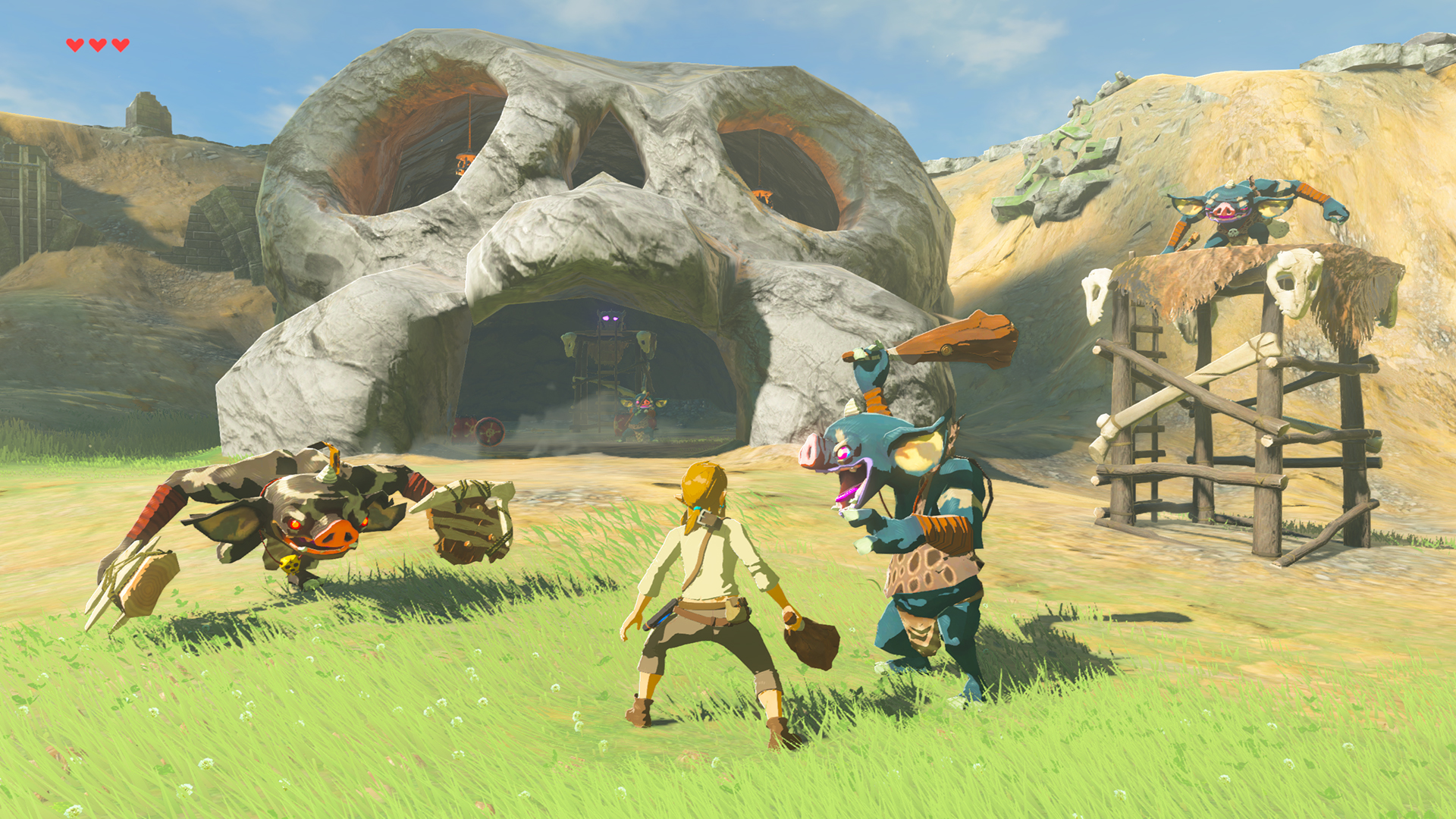 Link in a battle with blue Bokoblins in The Legend of Zelda: Breath of the Wild