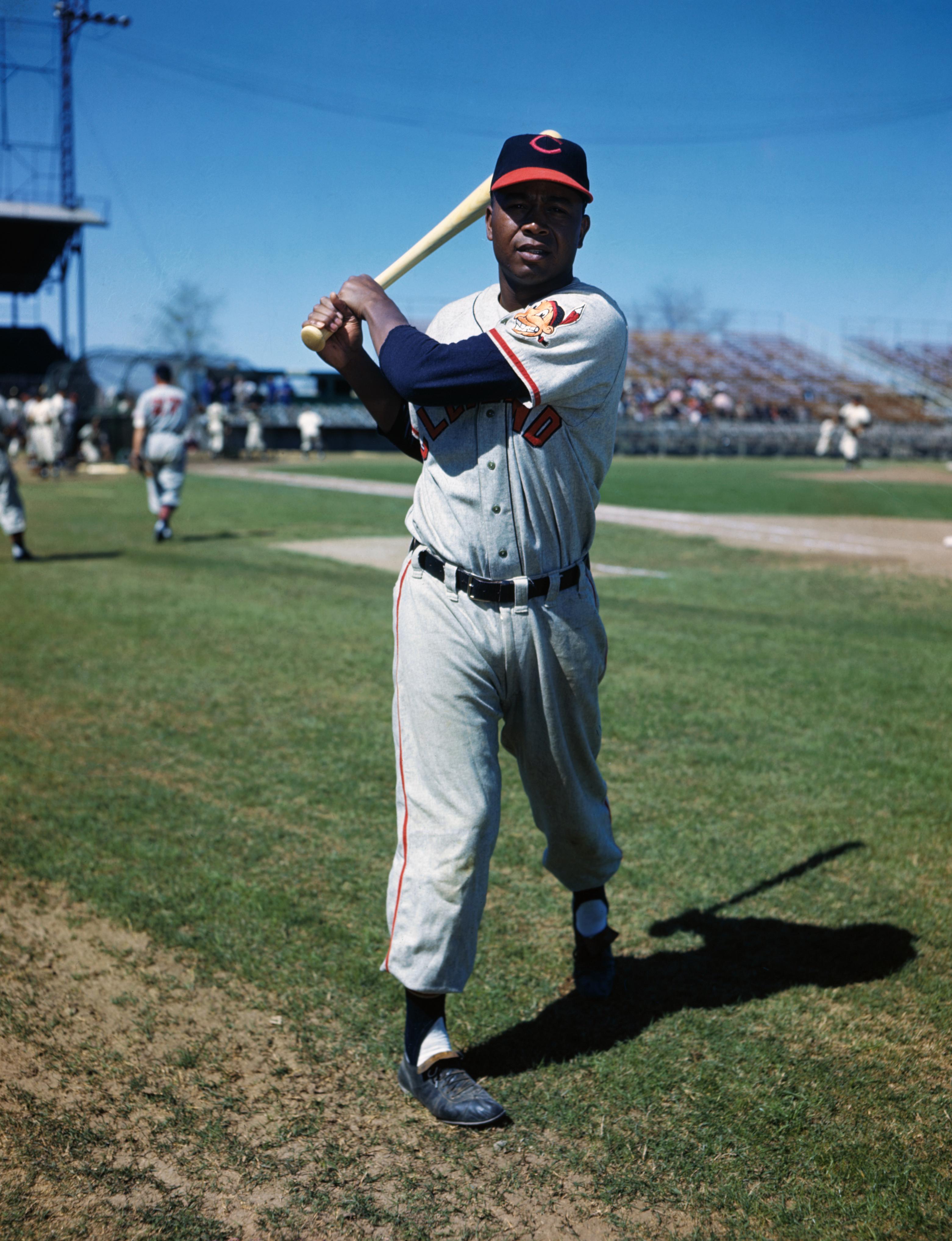 Larry Doby Posing with Baseball Bat