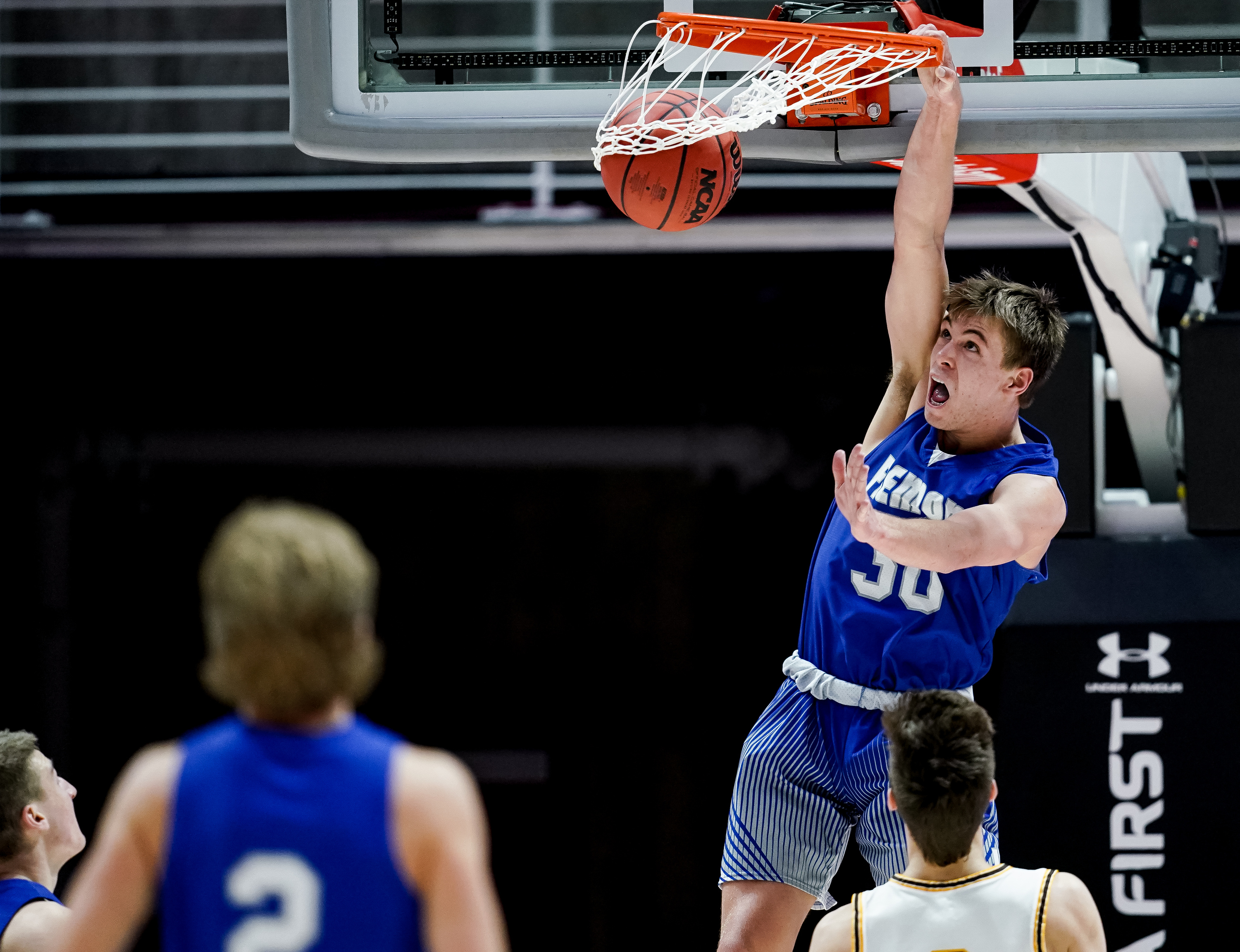 Fremont's Dallin Hall dunks during the 6A boys basketball championship game against Davis at the Huntsman Center in Salt Lake City on Saturday, Feb. 29, 2020.