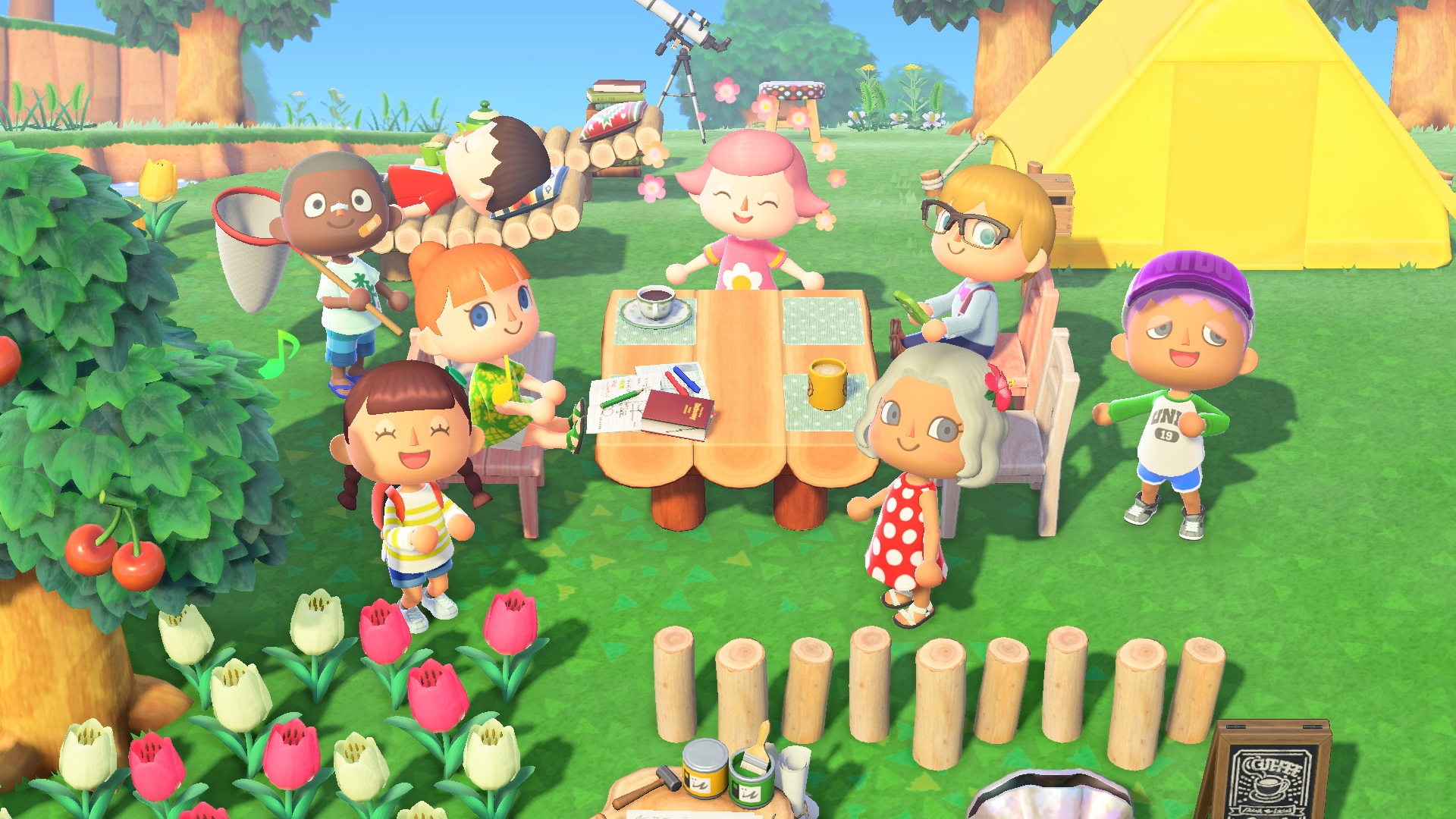 a group of characters enjoy each other's company around a comfy-looking picnic table in Animal Crossing: New Horizons