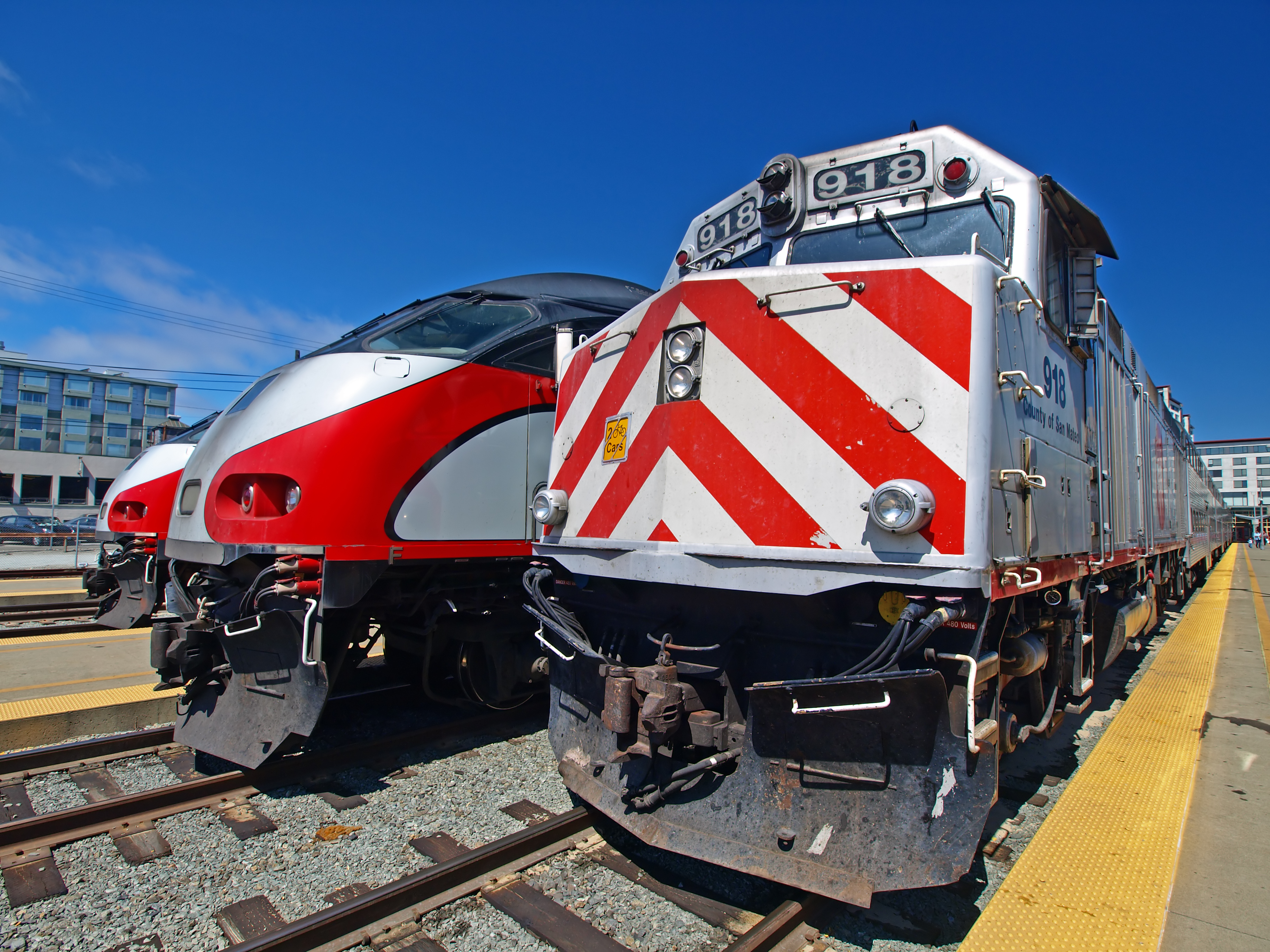 caltrains on the track