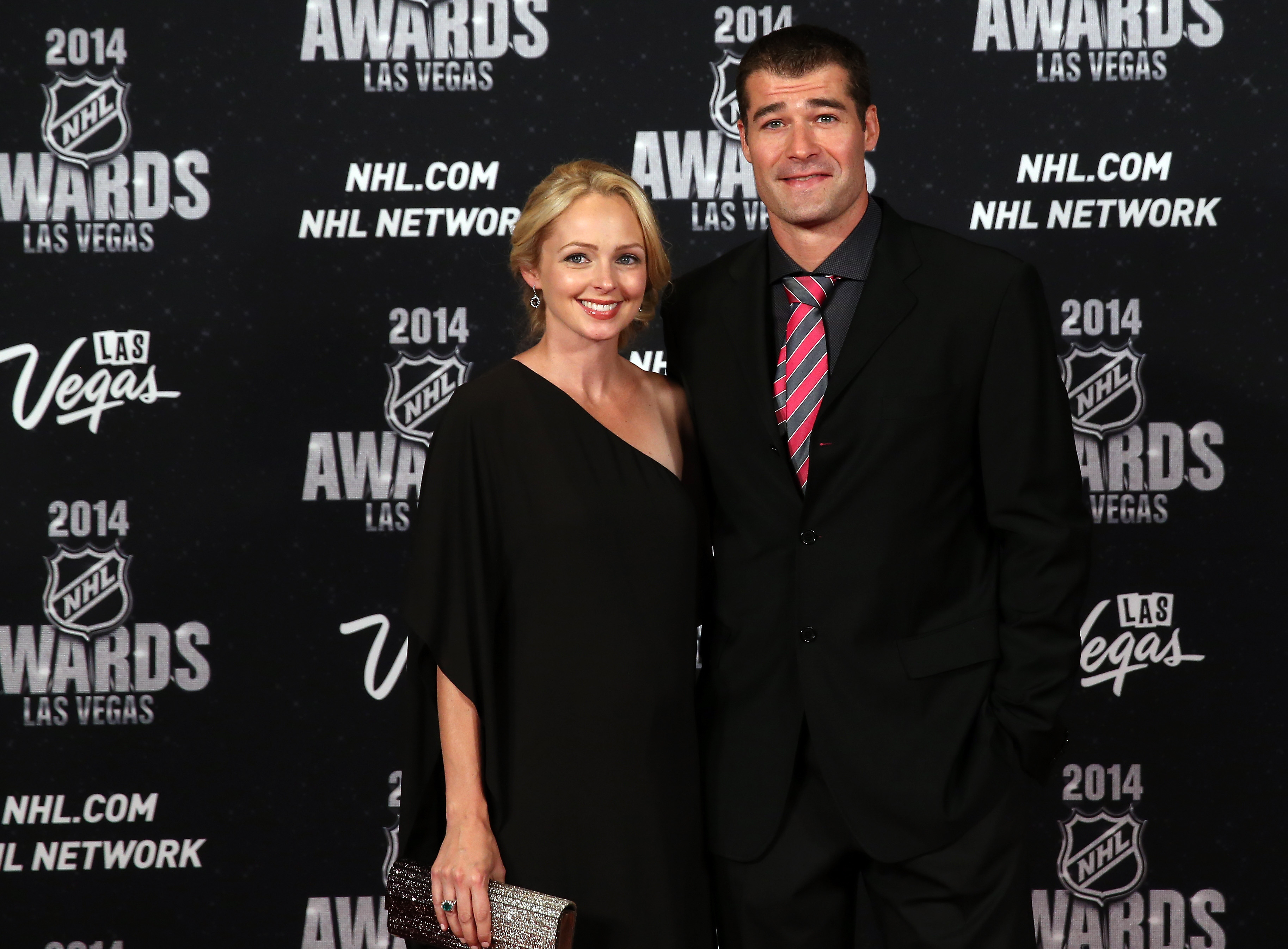 Patrick Marleau of the San Jose Sharks with his wife Christina arrive on the red carpet prior to the 2014 NHL Awards at Encore Las Vegas on June 24, 2014 in Las Vegas, Nevada.