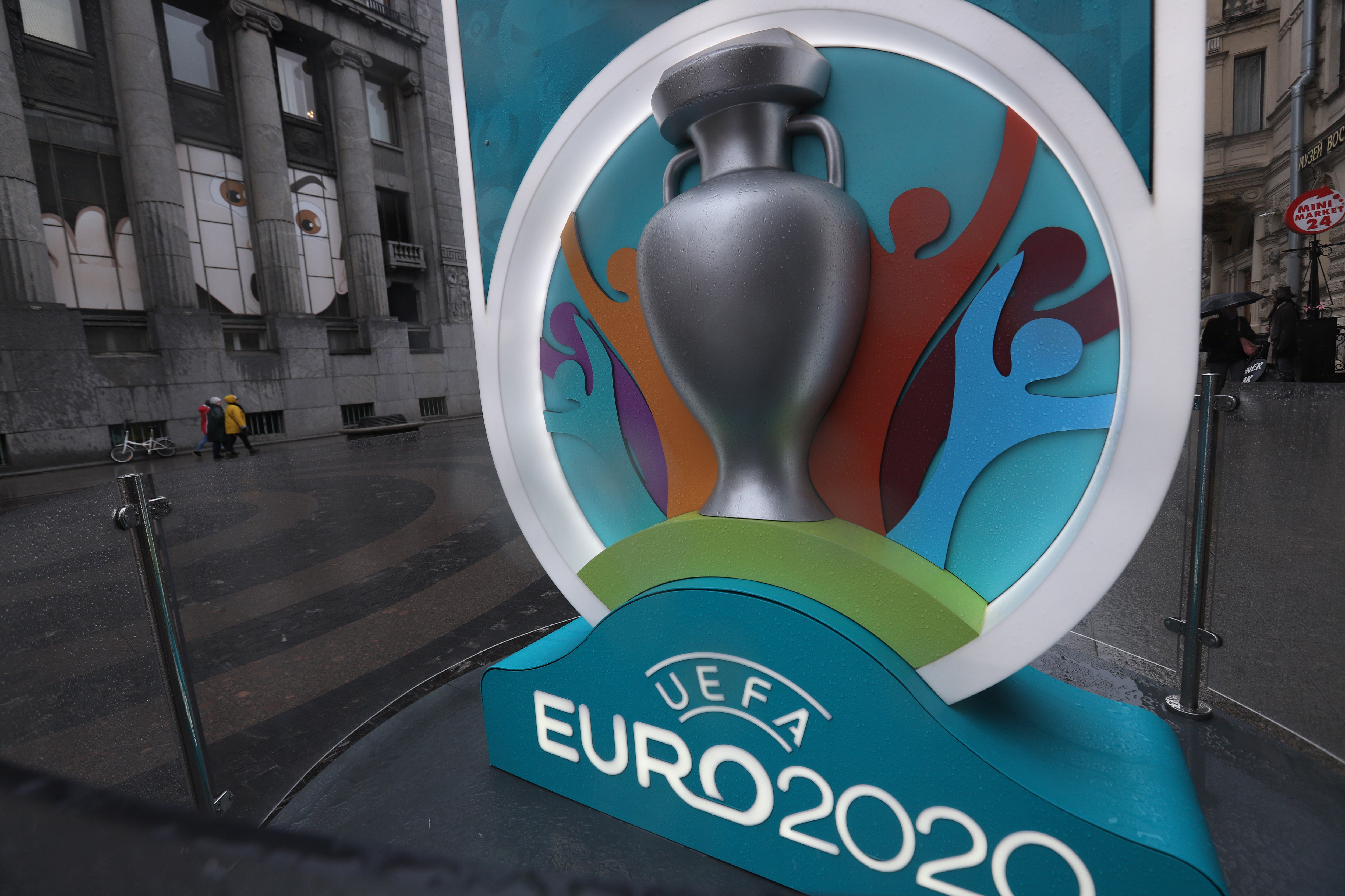A Logo of the UEFA Euro 2020 is seen at a countdown clock...