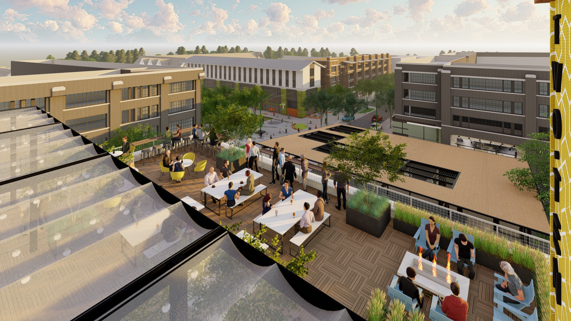 A rendering shows the vantage point of the under-construction retail and office building.