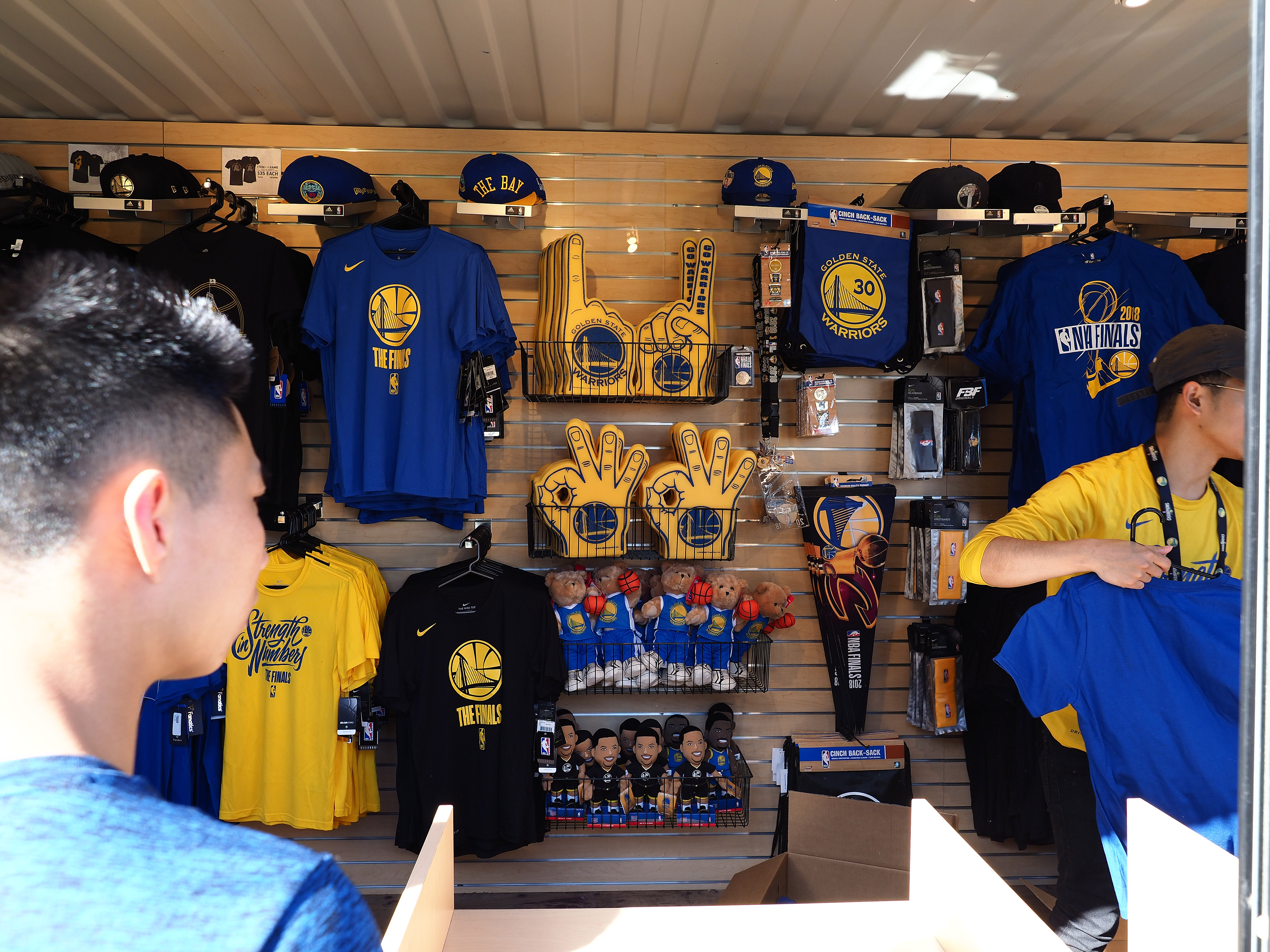 May 31, 2018; Oakland, CA, USA; Spectators gather to buy merchandise before the Golden State Warriors play against the Cleveland Cavaliers in game one of the 2018 NBA Finals at Oracle Arena. Mandatory Credit: Kelley L Cox