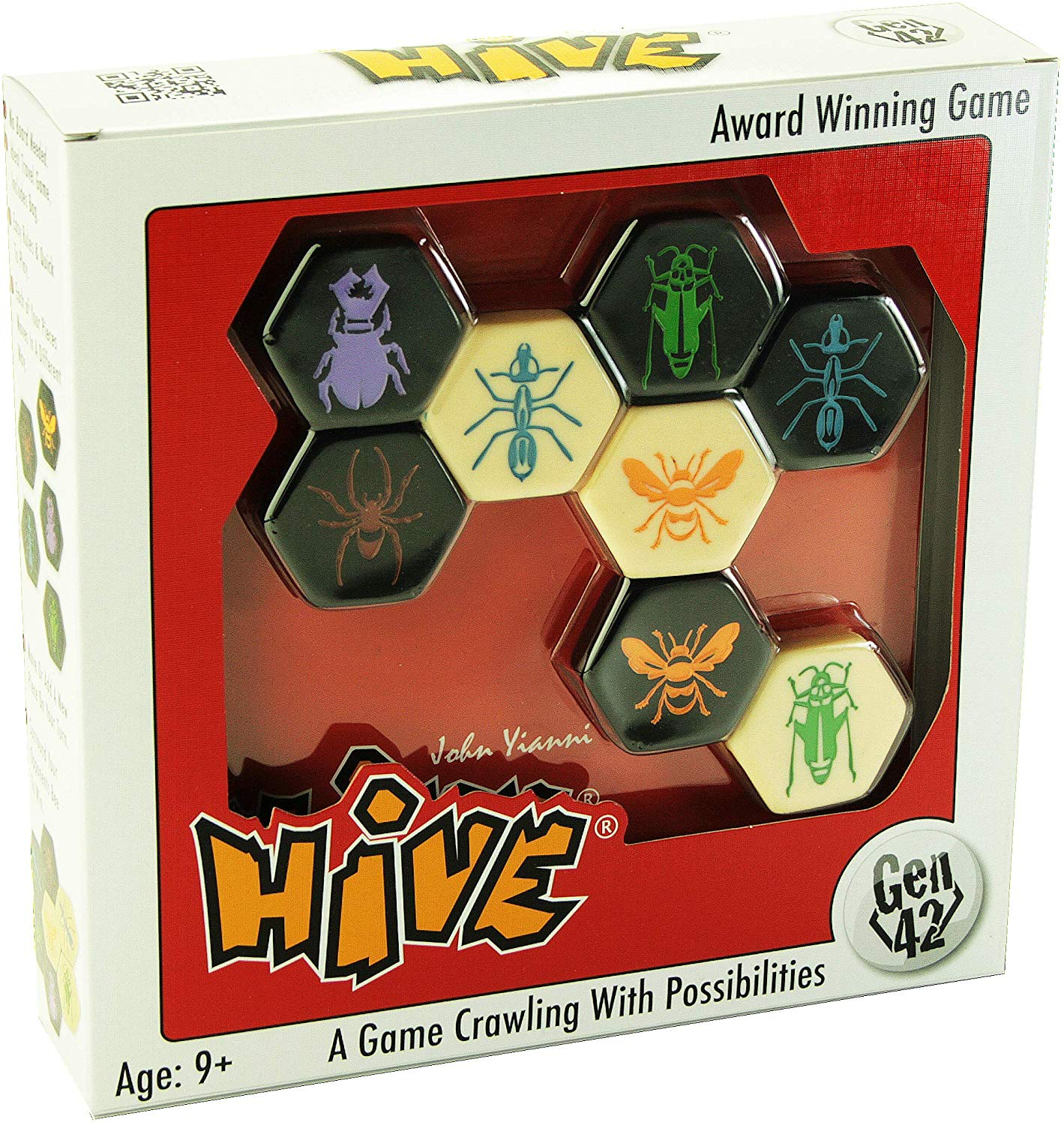 Some of the pieces from the game Hive.