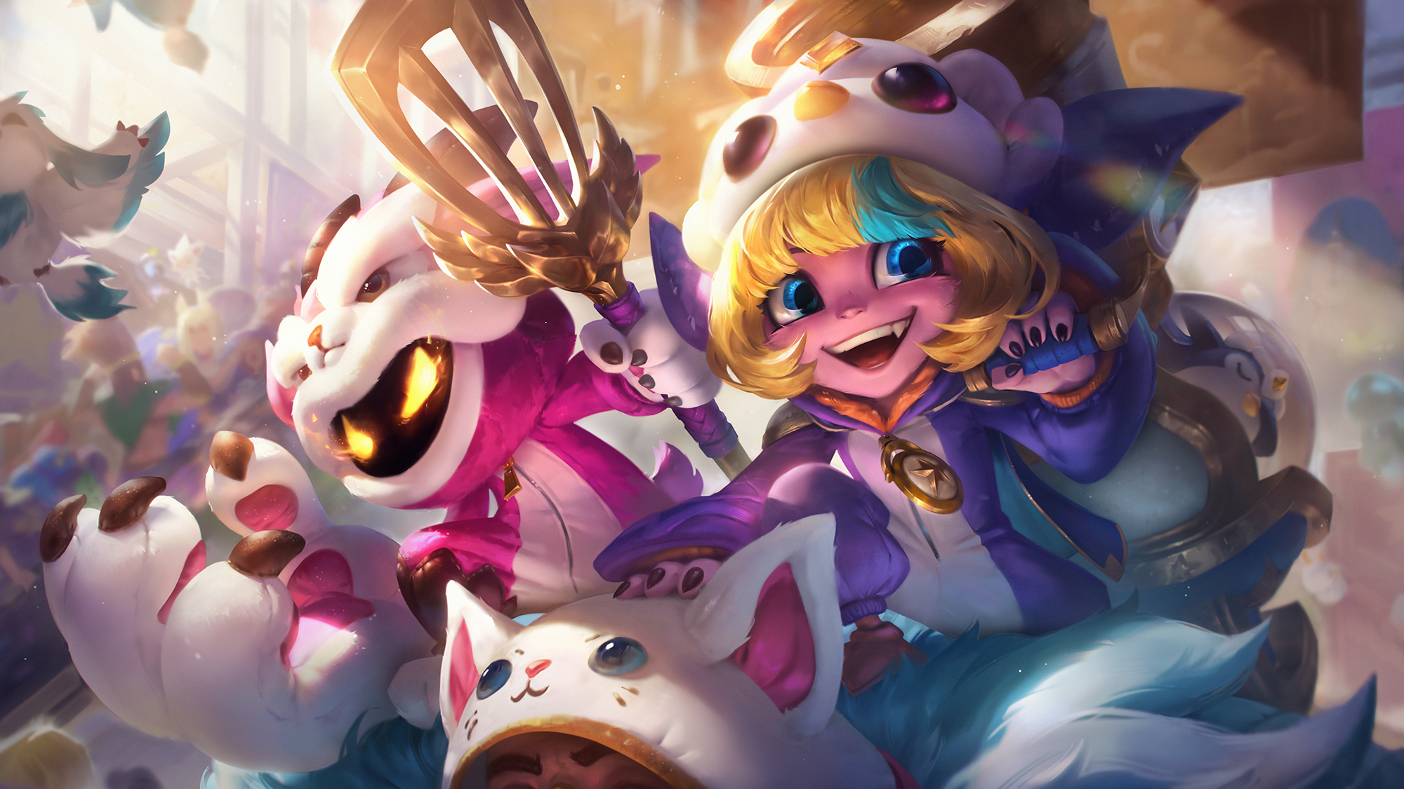 Pengu Cosplay Tristana and Furyhorn Cosplay Veigar sit atop another champion in cosplay