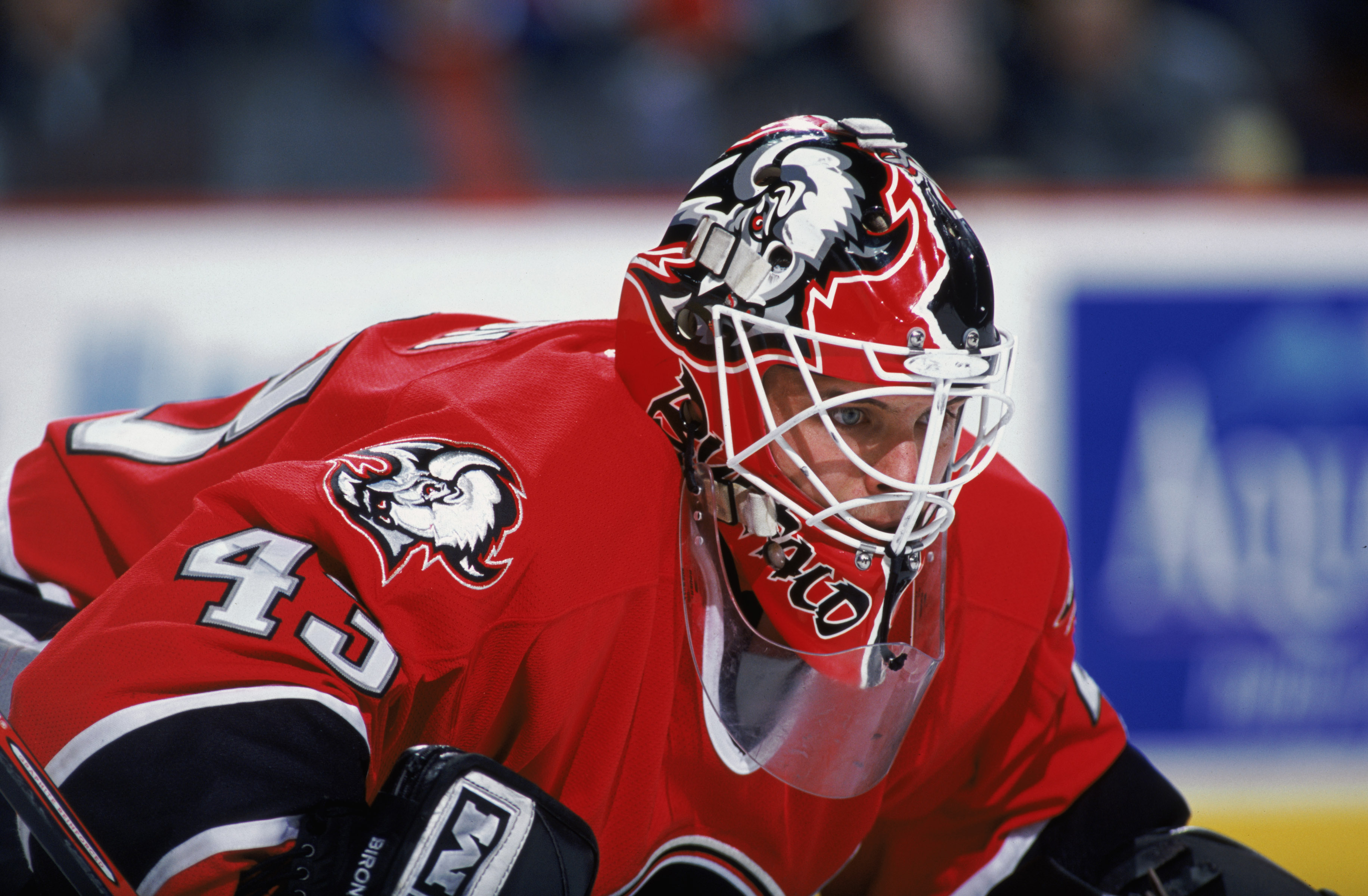 This is a close up of goaltender Martin Biron.