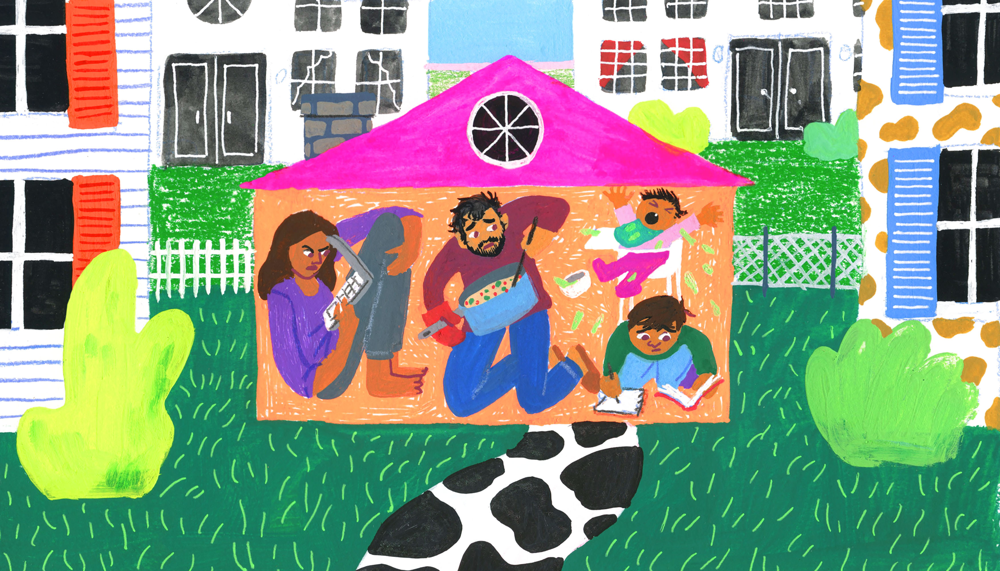 A family crams into a crowded house. There is chaos as one parent tries to work on a laptop, while the other cooks. A baby is crying in a highchair while another child is doing homework in a book. Illustration.